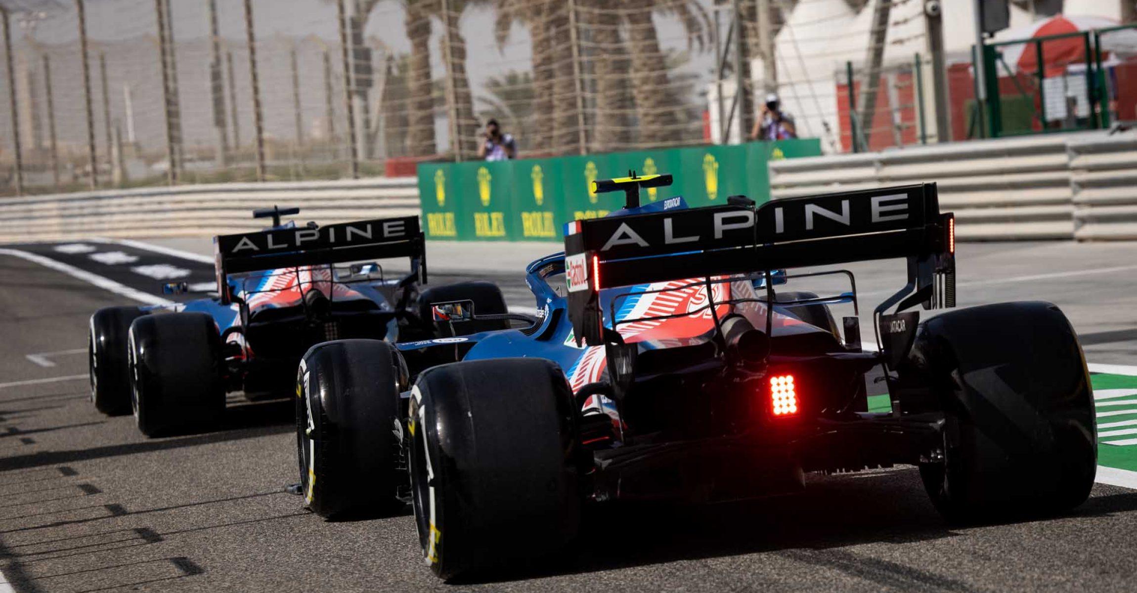 Fernando Alonso (ESP) Alpine F1 Team A521 and Esteban Ocon (FRA) Alpine F1 Team A521 leave the pits. Bahrain Grand Prix, Friday 26th March 2021. Sakhir, Bahrain.