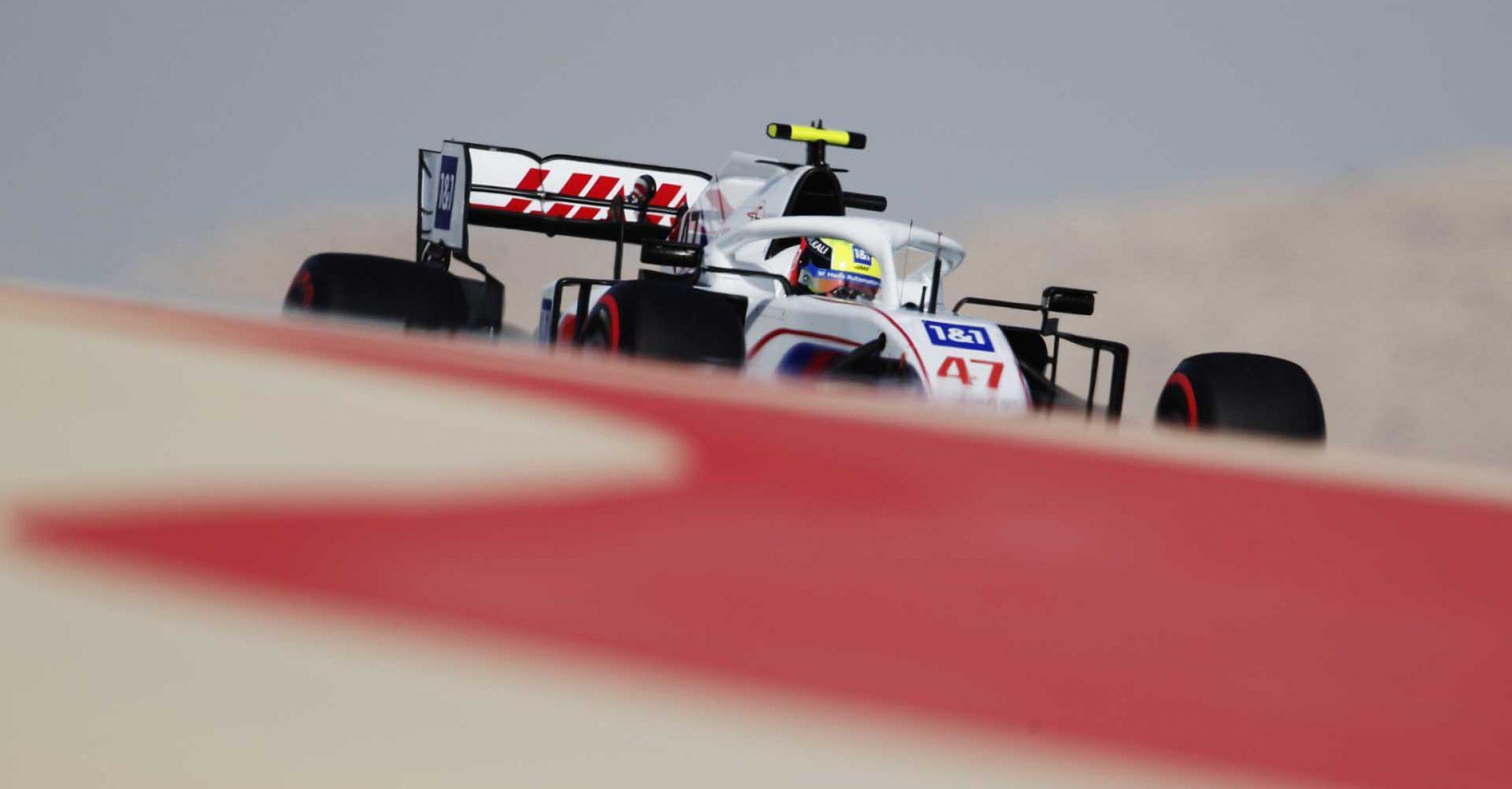 BAHRAIN INTERNATIONAL CIRCUIT, BAHRAIN - MARCH 26: Mick Schumacher, Haas VF-21 during the Bahrain GP at Bahrain International Circuit on Friday March 26, 2021 in Sakhir, Bahrain. (Photo by Zak Mauger / LAT Images)