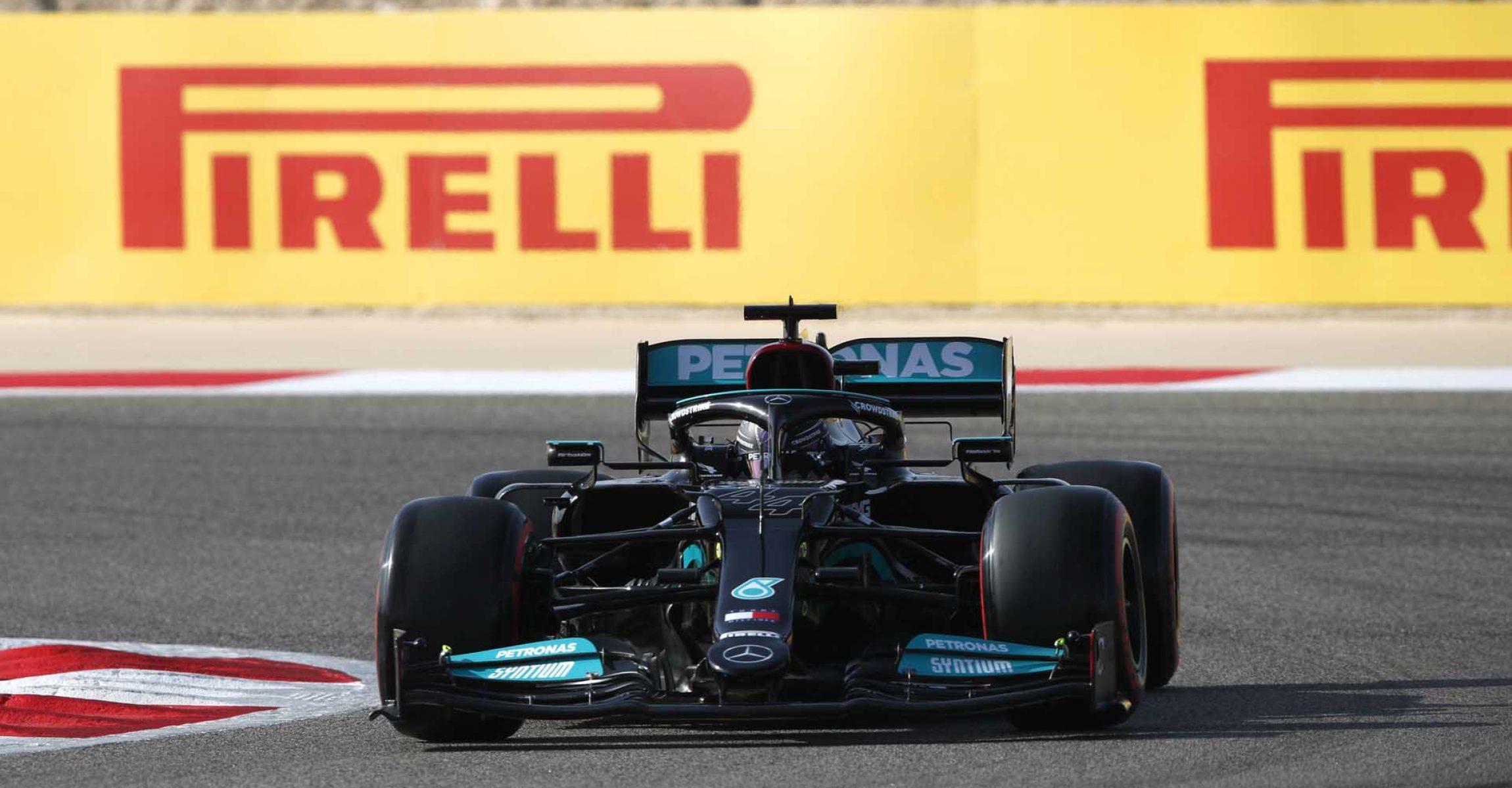 BAHRAIN INTERNATIONAL CIRCUIT, BAHRAIN - MARCH 27: Sir Lewis Hamilton, Mercedes W12 during the Bahrain GP at Bahrain International Circuit on Saturday March 27, 2021 in Sakhir, Bahrain. (Photo by Charles Coates / LAT Images)