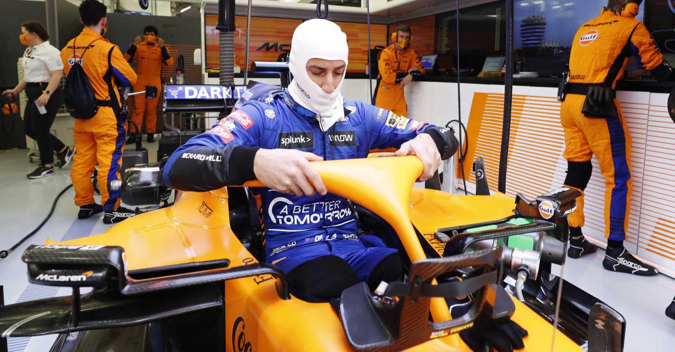Daniel Ricciardo, McLaren MCL35M, settles into his seat
