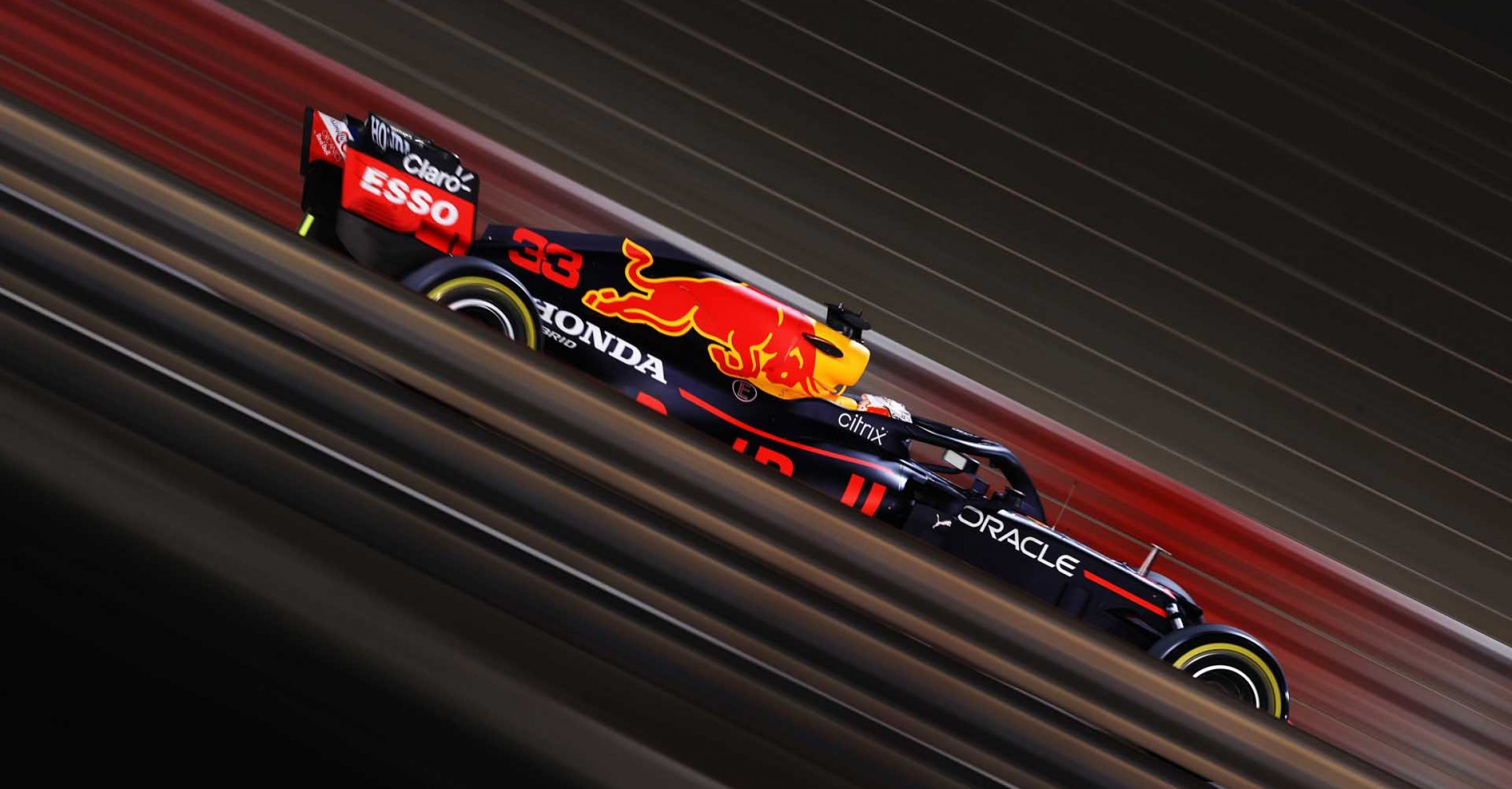 BAHRAIN, BAHRAIN - MARCH 28: Max Verstappen of the Netherlands driving the (33) Red Bull Racing RB16B Honda on track during the F1 Grand Prix of Bahrain at Bahrain International Circuit on March 28, 2021 in Bahrain, Bahrain. (Photo by Lars Baron/Getty Images)