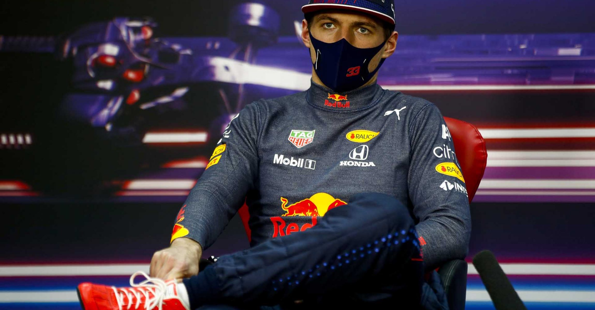 BAHRAIN, BAHRAIN - MARCH 28: Second placed, Max Verstappen of Netherlands and Red Bull Racing talks during a Press Conference after the F1 Grand Prix of Bahrain at Bahrain International Circuit on March 28, 2021 in Bahrain, Bahrain. (Photo by Andy Hone - Pool/Getty Images)