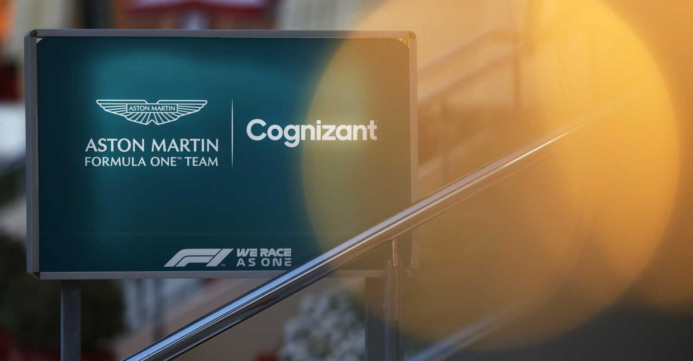 The Aston Martin F1 logo outside the hospitality area
