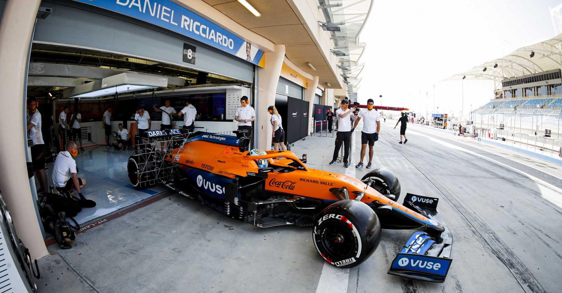 Daniel Ricciardo, McLaren MCL35M, exits his pit garage