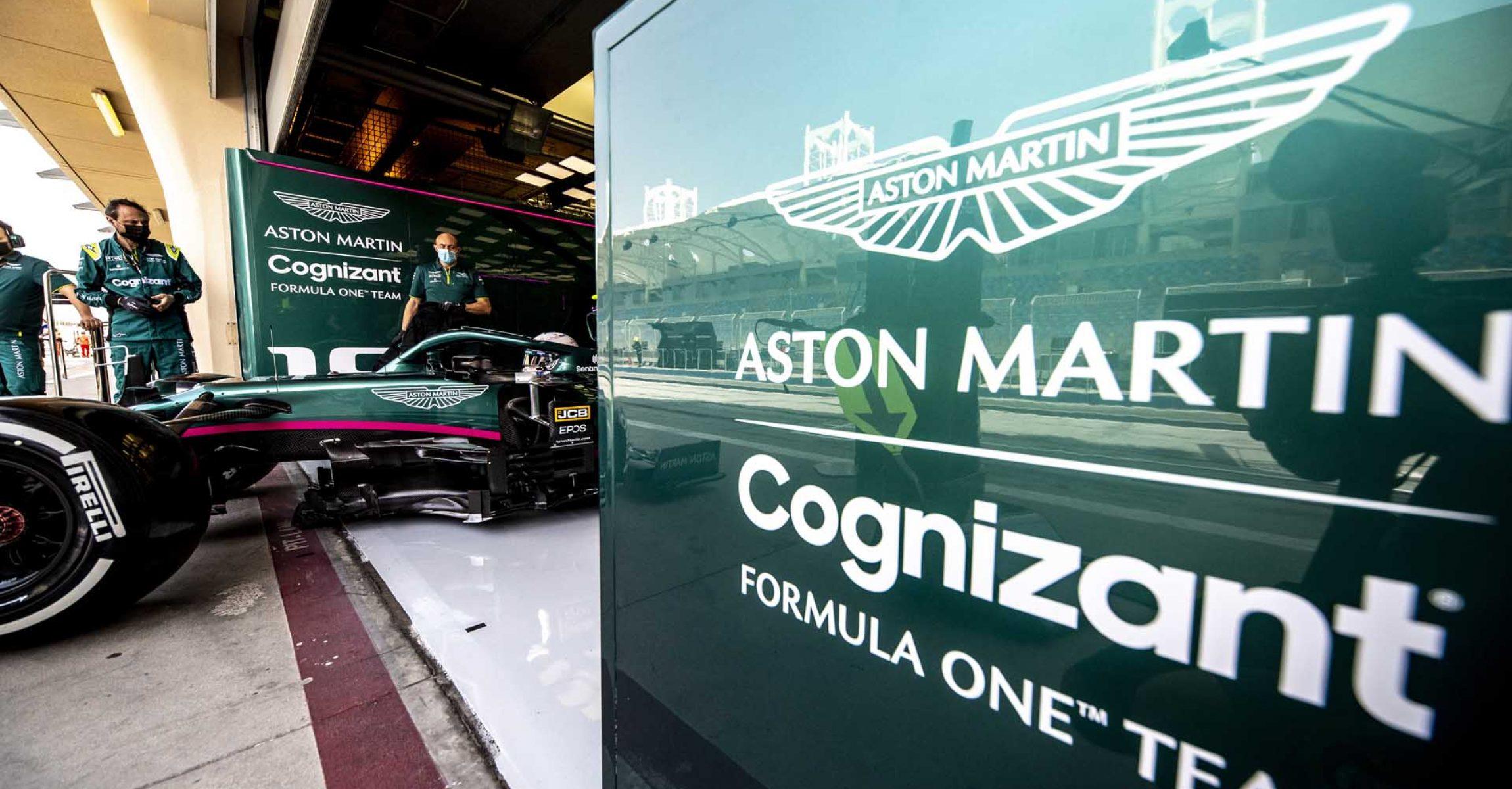 Sebastian Vettel, Aston Martin AMR21, leaves the garage