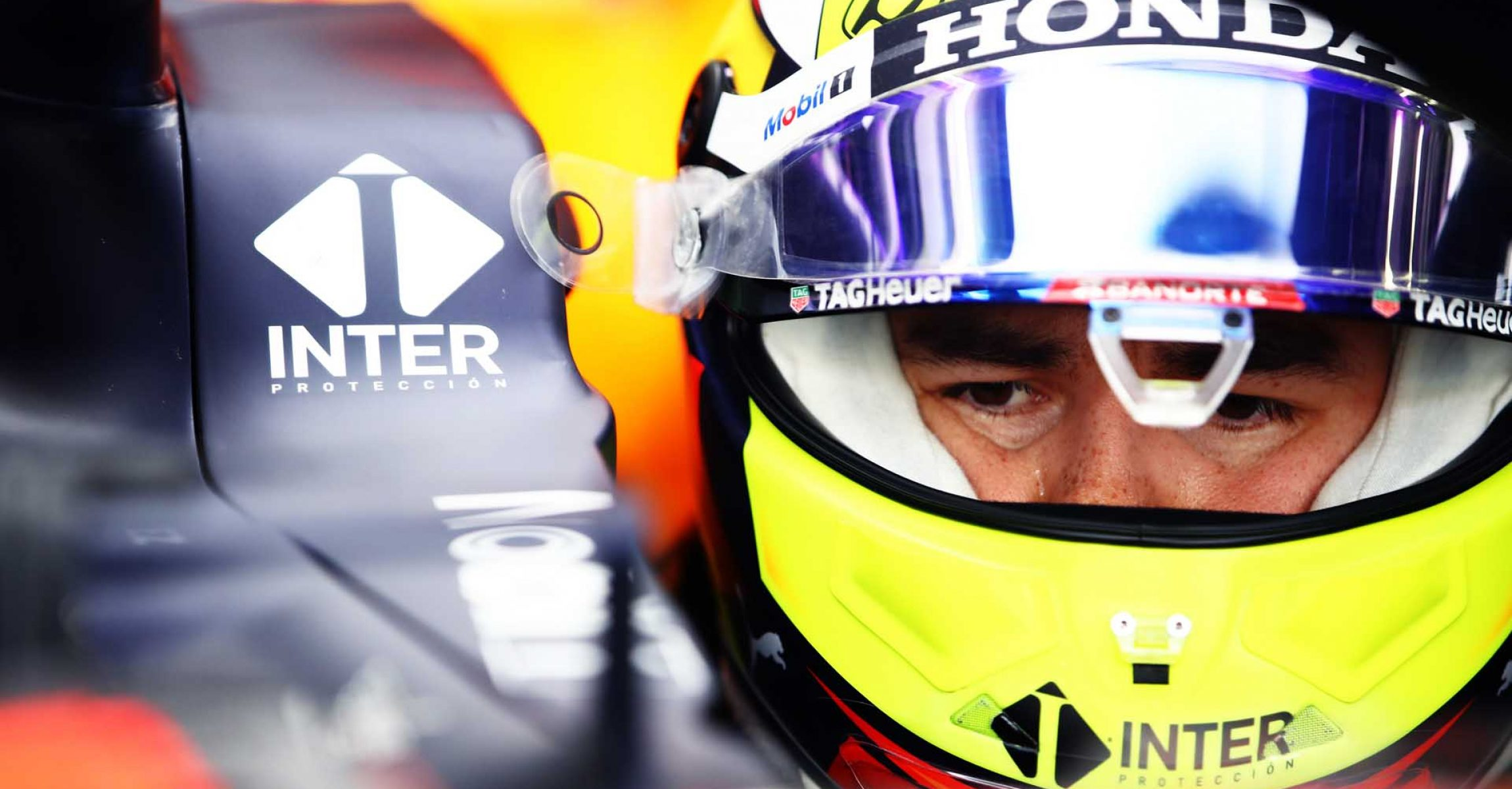 BAHRAIN, BAHRAIN - MARCH 13: Sergio Perez of Mexico and Red Bull Racing prepares to drive in the garage during Day Two of F1 Testing at Bahrain International Circuit on March 13, 2021 in Bahrain, Bahrain. (Photo by Mark Thompson/Getty Images) // Getty Images / Red Bull Content Pool  // SI202103130092 // Usage for editorial use only //