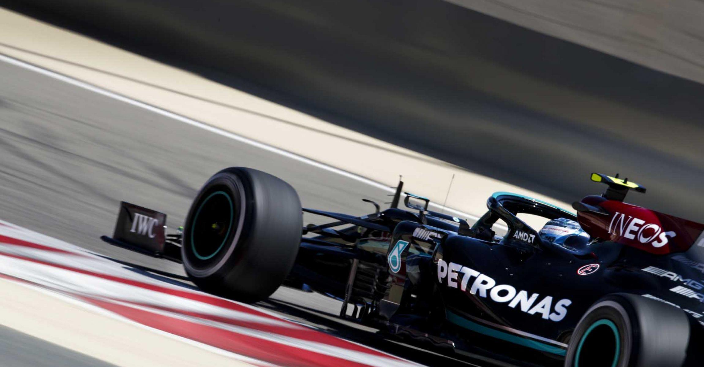 BAHRAIN INTERNATIONAL CIRCUIT, BAHRAIN - MARCH 14: Valtteri Bottas, Mercedes W12 during the Bahrain March testing at Bahrain International Circuit on Sunday March 14, 2021 in Sakhir, Bahrain. (Photo by Zak Mauger / LAT Images)