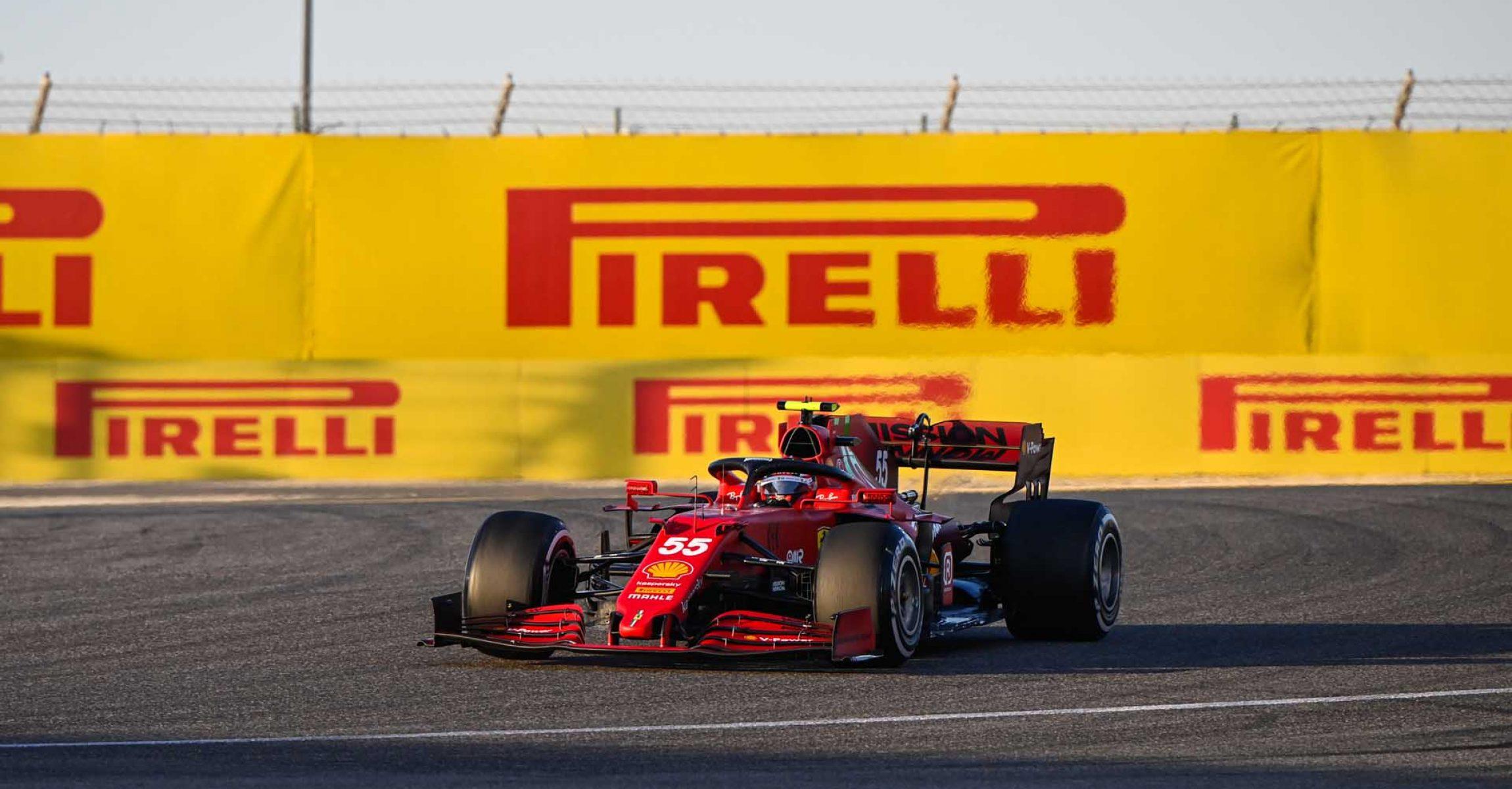 BAHRAIN INTERNATIONAL CIRCUIT, BAHRAIN - MARCH 14: Carlos Sainz, Ferrari SF21 during the Bahrain March testing at Bahrain International Circuit on Sunday March 14, 2021 in Sakhir, Bahrain. (Photo by Mark Sutton / LAT Images)