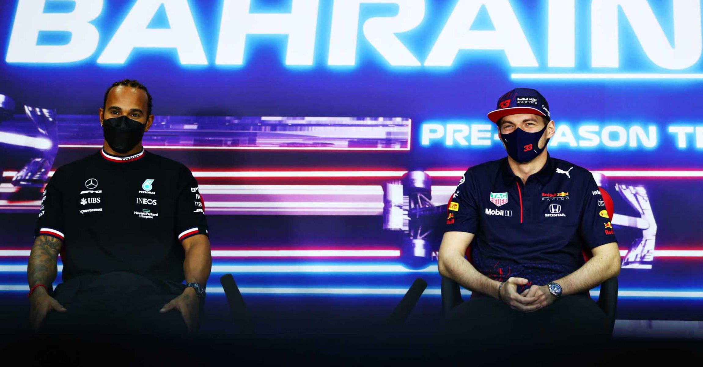 BAHRAIN, BAHRAIN - MARCH 14: Lewis Hamilton of Great Britain and Mercedes GP and Max Verstappen of Netherlands and Red Bull Racing talk in a press conference during Day Three of F1 Testing at Bahrain International Circuit on March 14, 2021 in Bahrain, Bahrain. (Photo by Dan Istitene/Getty Images) // Getty Images / Red Bull Content Pool  // SI202103140133 // Usage for editorial use only //