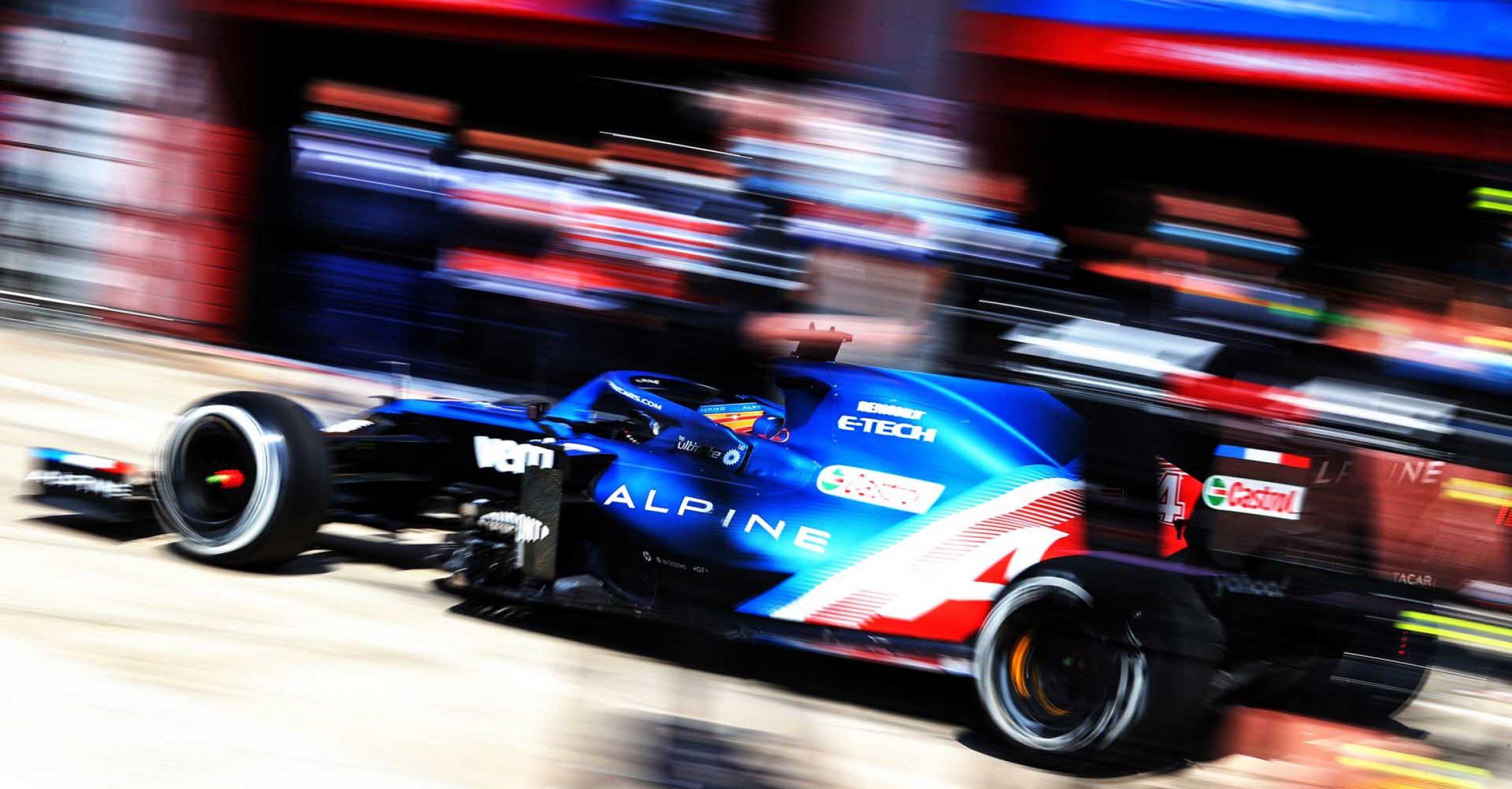 Fernando Alonso (ESP) Alpine F1 Team A521 leaves the pits. Emilia Romagna Grand Prix, Friday 16th April 2021. Imola, Italy.