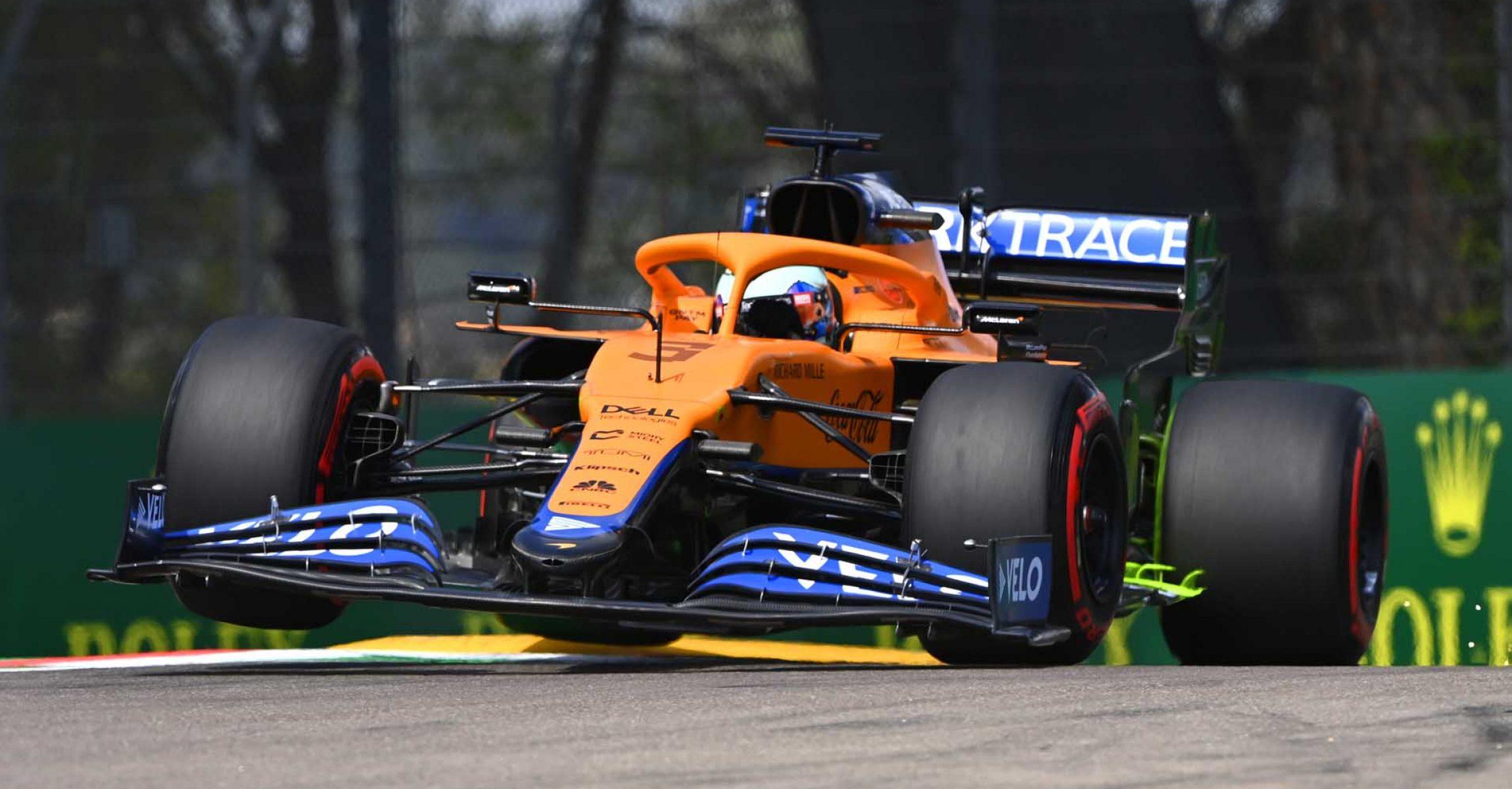 Daniel Ricciardo, McLaren MCL35M, car front on at turn