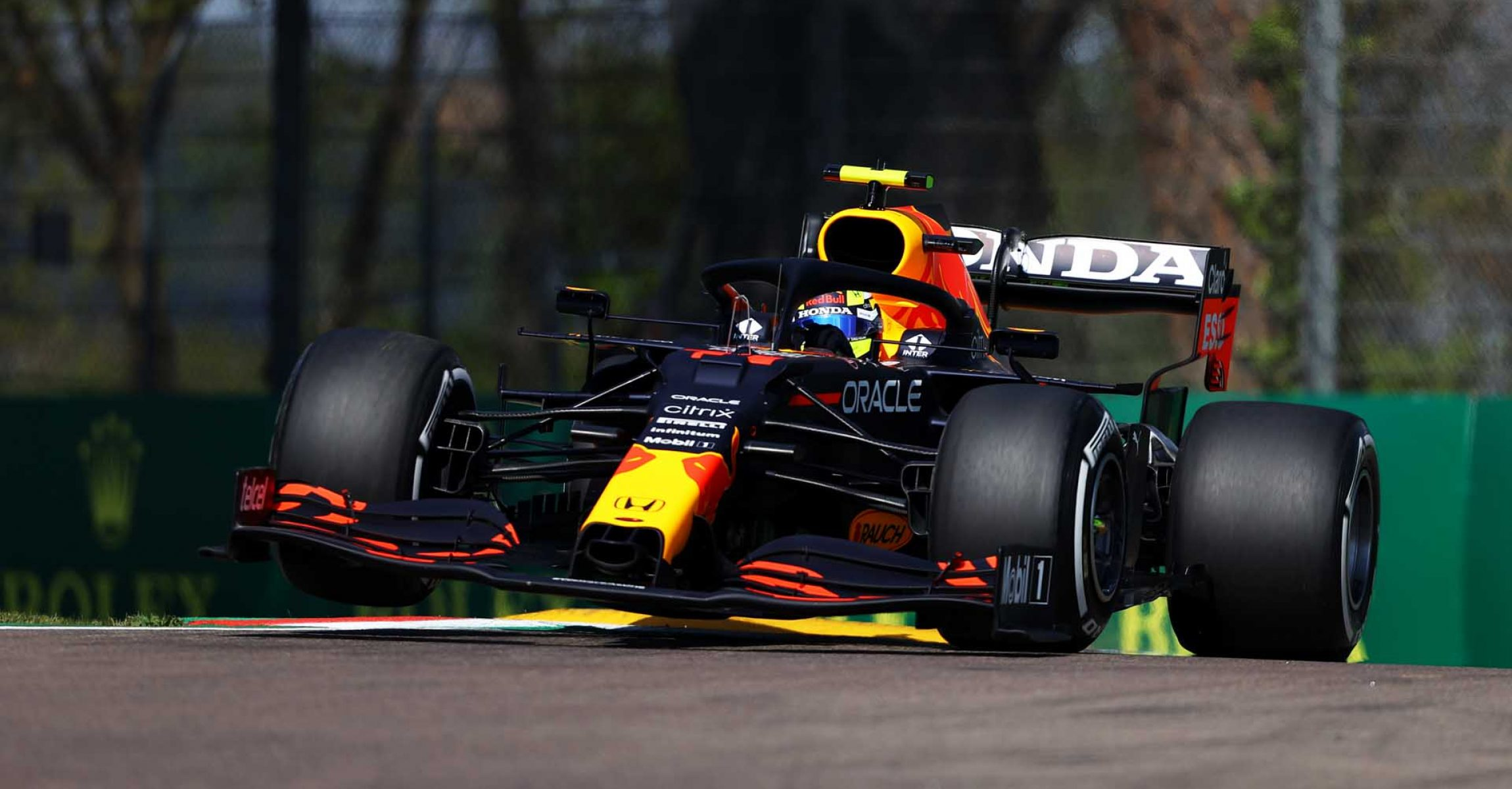 IMOLA, ITALY - APRIL 16: Sergio Perez of Mexico driving the (11) Red Bull Racing RB16B Honda on track during practice ahead of the F1 Grand Prix of Emilia Romagna at Autodromo Enzo e Dino Ferrari on April 16, 2021 in Imola, Italy. (Photo by Bryn Lennon/Getty Images)