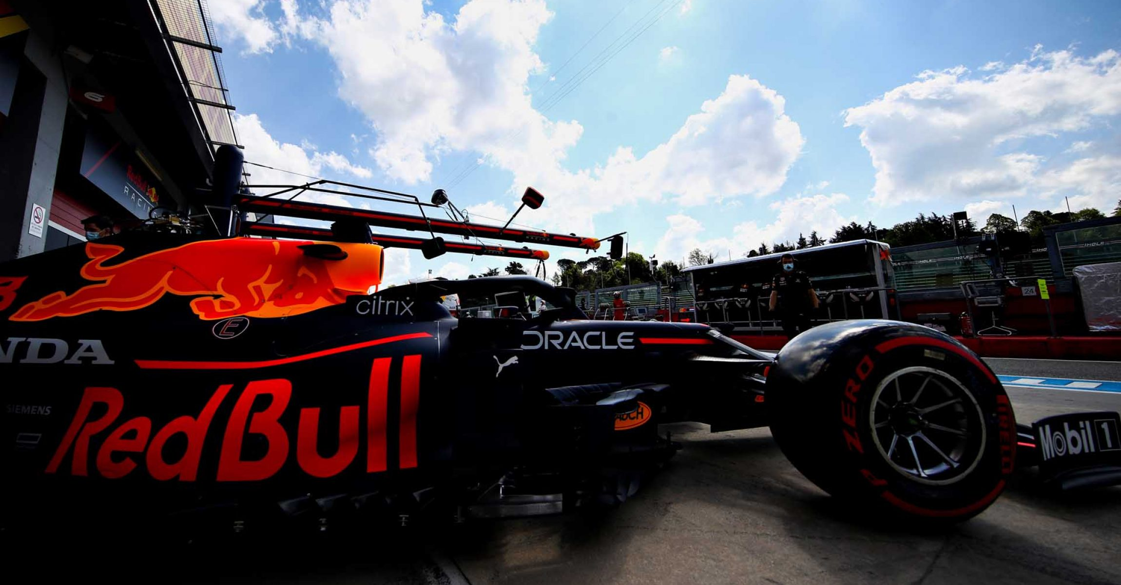 IMOLA, ITALY - APRIL 16: Max Verstappen of the Netherlands driving the (33) Red Bull Racing RB16B Honda leaves the garage during practice ahead of the F1 Grand Prix of Emilia Romagna at Autodromo Enzo e Dino Ferrari on April 16, 2021 in Imola, Italy. (Photo by Mark Thompson/Getty Images)