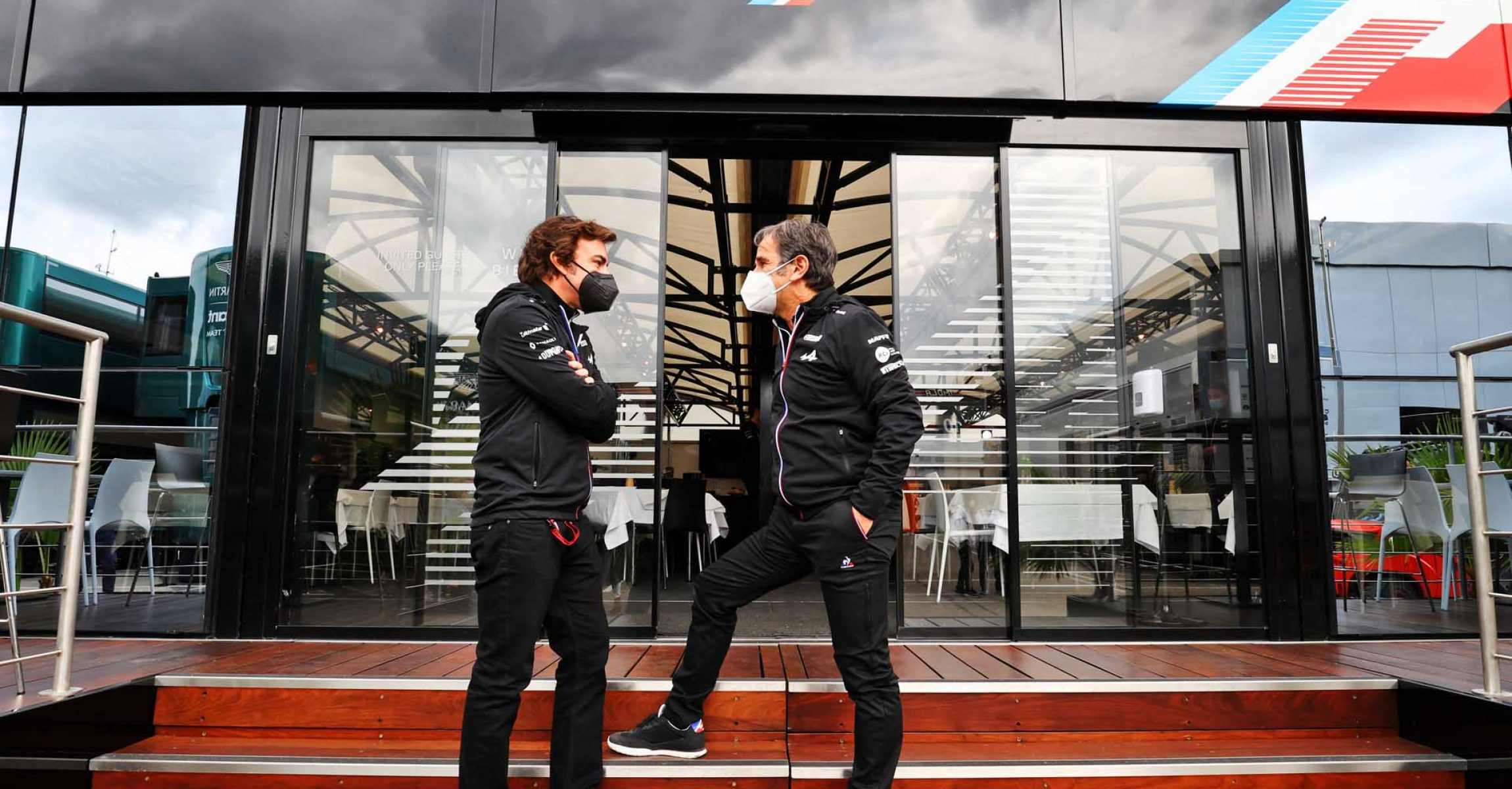 (L to R): Fernando Alonso (ESP) Alpine F1 Team with Davide Brivio (ITA) Alpine F1 Team Racing Director. Emilia Romagna Grand Prix, Thursday 15th April 2021. Imola, Italy.