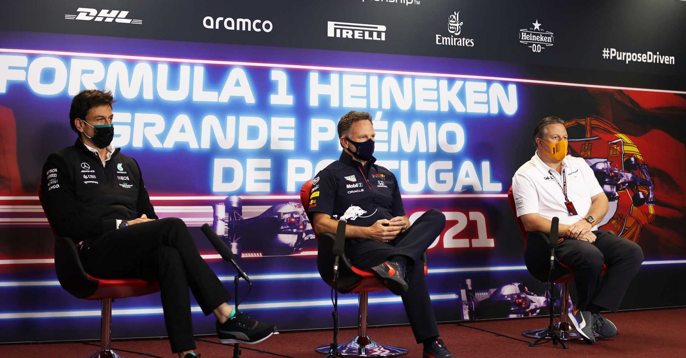 PORTIMAO, PORTUGAL - APRIL 30: Mercedes GP Executive Director Toto Wolff, Red Bull Racing Team Principal Christian Horner and McLaren Chief Executive Officer Zak Brown talk in the Team Principals Press Conference during practice ahead of the F1 Grand Prix of Portugal at Autodromo Internacional Do Algarve on April 30, 2021 in Portimao, Portugal. (Photo by Lars Baron/Getty Images)