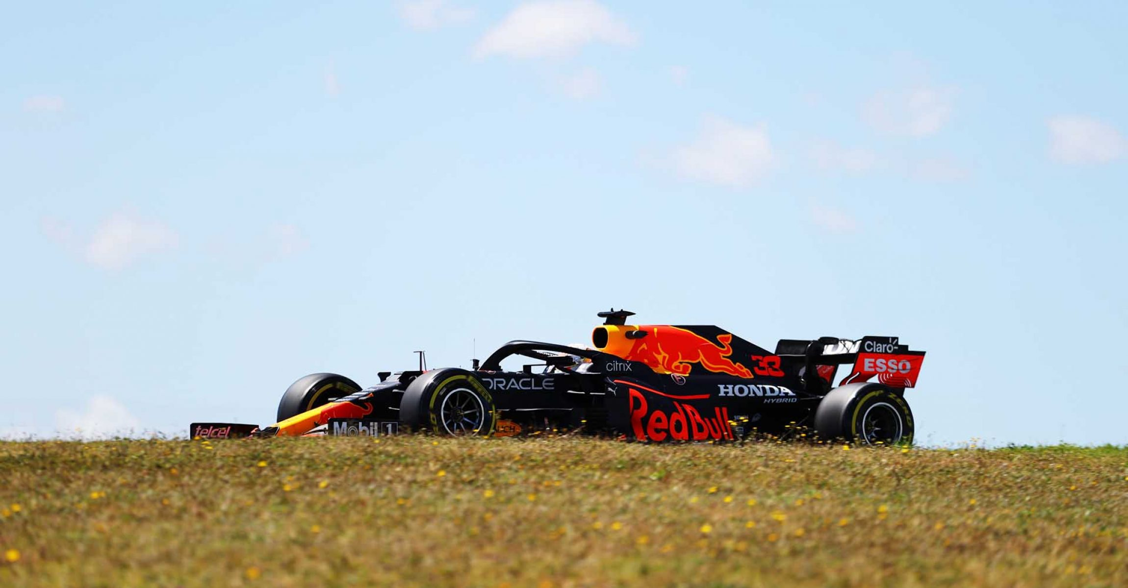 PORTIMAO, PORTUGAL - APRIL 30: Max Verstappen of the Netherlands driving the (33) Red Bull Racing RB16B Honda on track during practice ahead of the F1 Grand Prix of Portugal at Autodromo Internacional Do Algarve on April 30, 2021 in Portimao, Portugal. (Photo by Bryn Lennon/Getty Images)