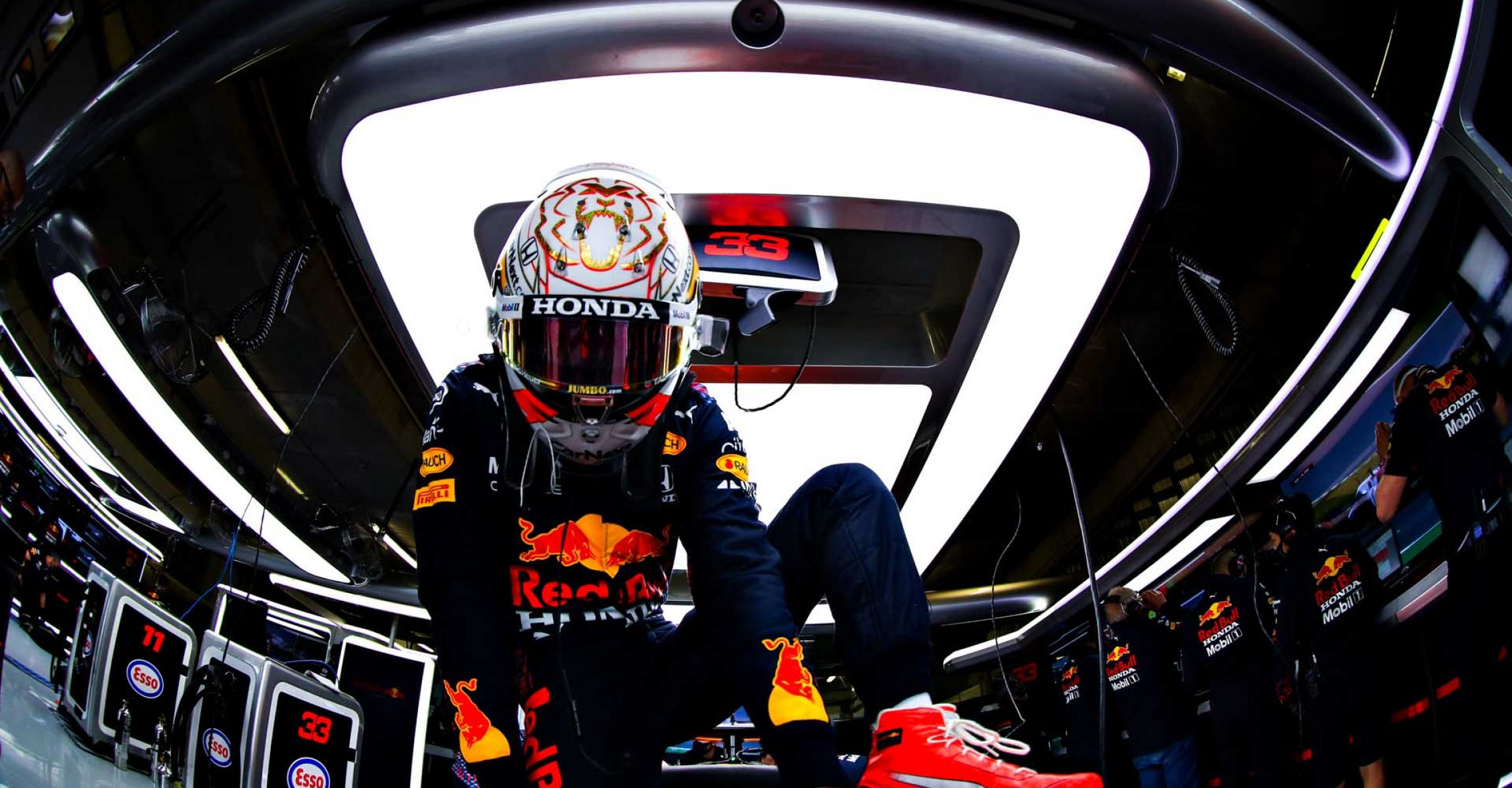 PORTIMAO, PORTUGAL - MAY 01: Max Verstappen of Netherlands and Red Bull Racing prepares to drive in the garage during final practice for the F1 Grand Prix of Portugal at Autodromo Internacional Do Algarve on May 01, 2021 in Portimao, Portugal. (Photo by Mark Thompson/Getty Images)