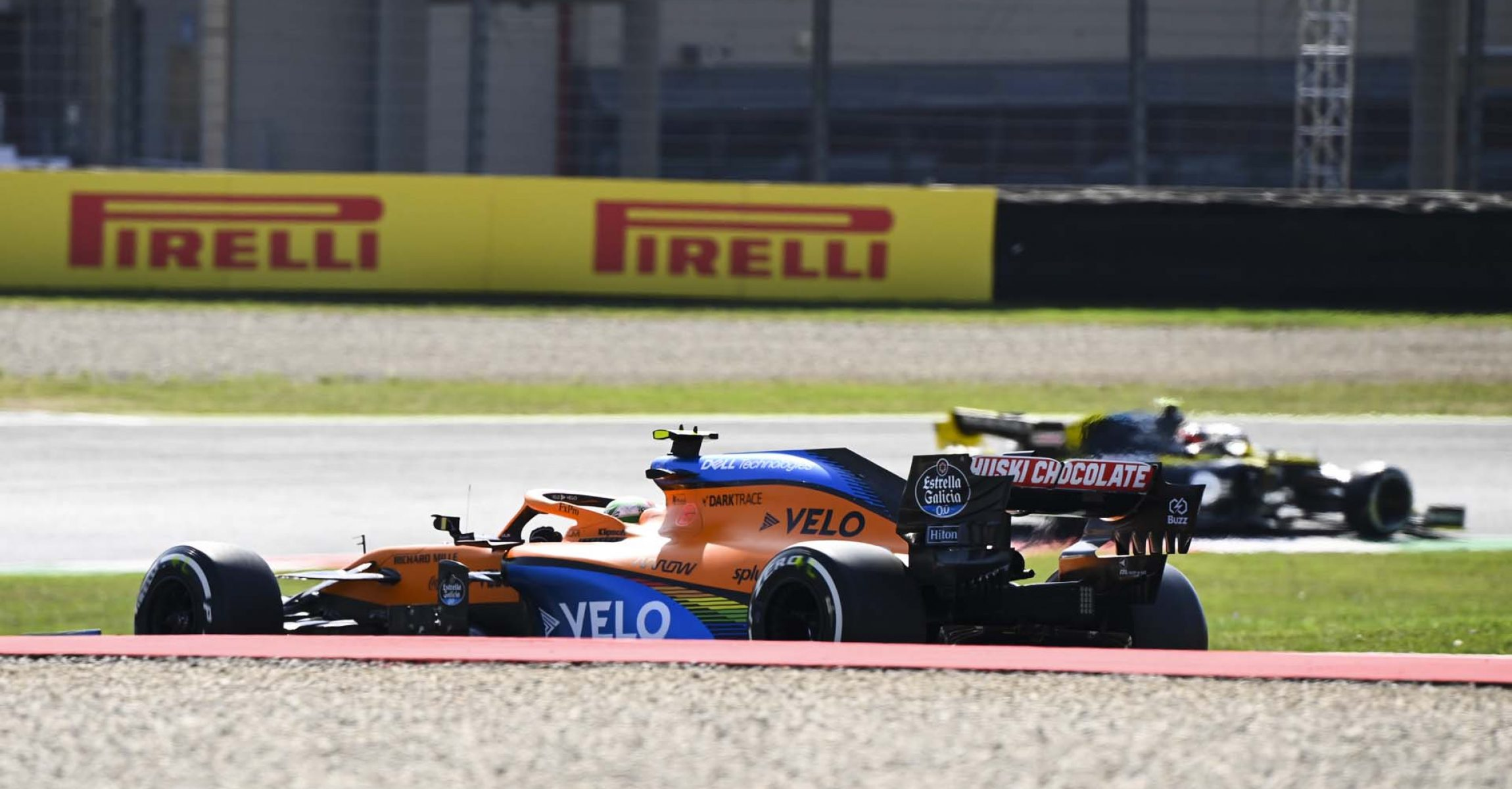 MUGELLO CIRCUIT, ITALY - SEPTEMBER 11: Lando Norris, McLaren MCL35 and Esteban Ocon, Renault R.S.20 during the Tuscany GP at Mugello Circuit on Friday September 11, 2020, Italy. (Photo by Mark Sutton / LAT Images)