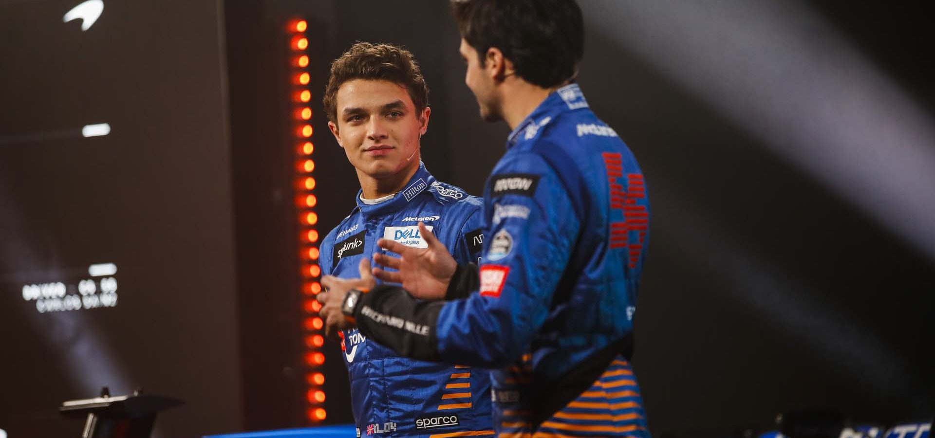 Lando Norris and Carlos Sainz at the MCL35 launch. 13 February 2020