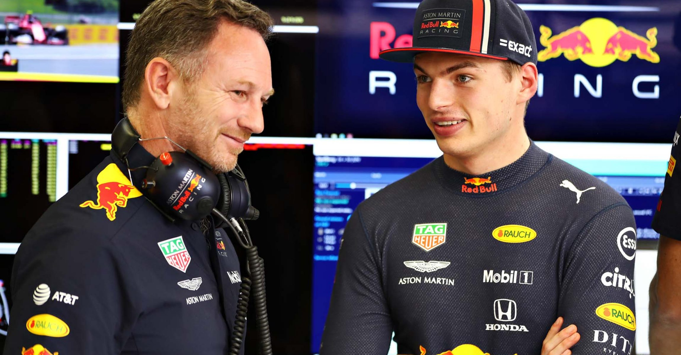 SPIELBERG, AUSTRIA - JUNE 28: Max Verstappen of Netherlands and Red Bull Racing talks with Red Bull Racing Team Principal Christian Horner in the garage during practice for the F1 Grand Prix of Austria at Red Bull Ring on June 28, 2019 in Spielberg, Austria. (Photo by Mark Thompson/Getty Images) // Getty Images / Red Bull Content Pool // AP-1ZSKGG83W1W11 // Usage for editorial use only // Please go to www.redbullcontentpool.com for further information. //