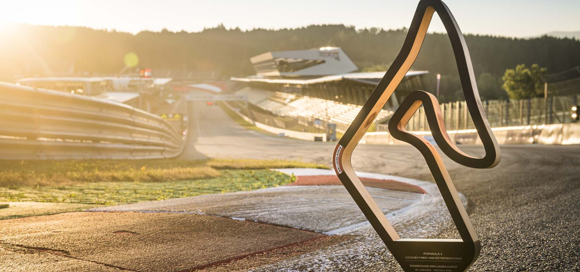 The Niki Lauda Trophy seen at the new Niki Lauda Corner during the FIA Formula One World Championship 2019 in Spielberg, Austria on June 29, 2019 // Philip Platzer/Red Bull Content Pool // AP-1ZT6KZ4KH1W11 // Usage for editorial use only // Please go to www.redbullcontentpool.com for further information. //