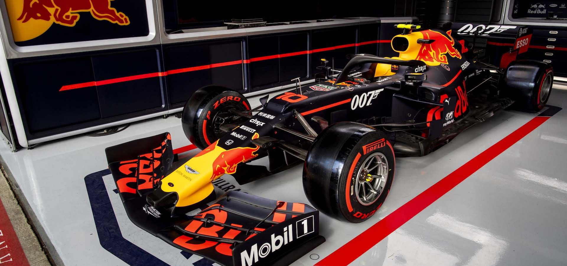 NORTHAMPTON, ENGLAND - JULY 10: The 007 special livery of the Red Bull Racing RB15 is seen in the garage during previews ahead of the F1 Grand Prix of Great Britain at Silverstone on July 10, 2019 in Northampton, England. (Photo by Mark Thompson/Getty Images)