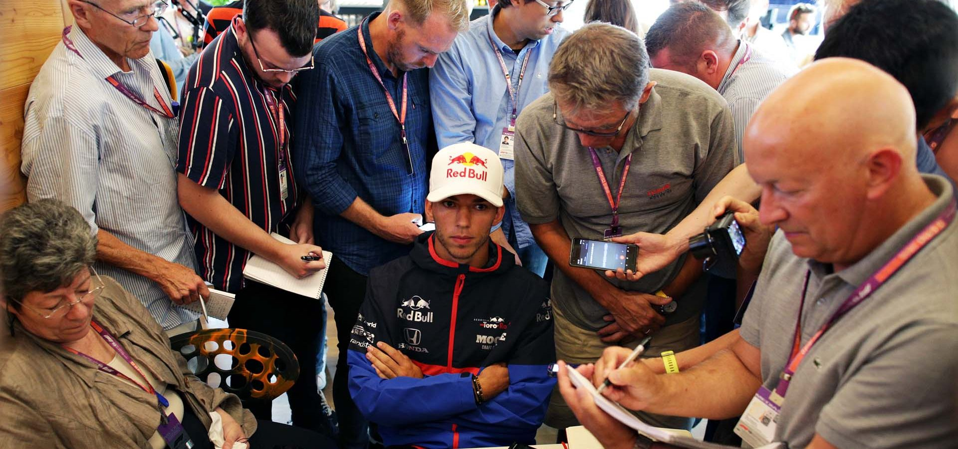 SPA, BELGIUM - AUGUST 29: Pierre Gasly of France and Scuderia Toro Rosso talks to the media in the Paddock during previews ahead of the F1 Grand Prix of Belgium at Circuit de Spa-Francorchamps on August 29, 2019 in Spa, Belgium. (Photo by Peter Fox/Getty Images) // Getty Images / Red Bull Content Pool  // AP-21DJRJAXN1W11 // Usage for editorial use only //