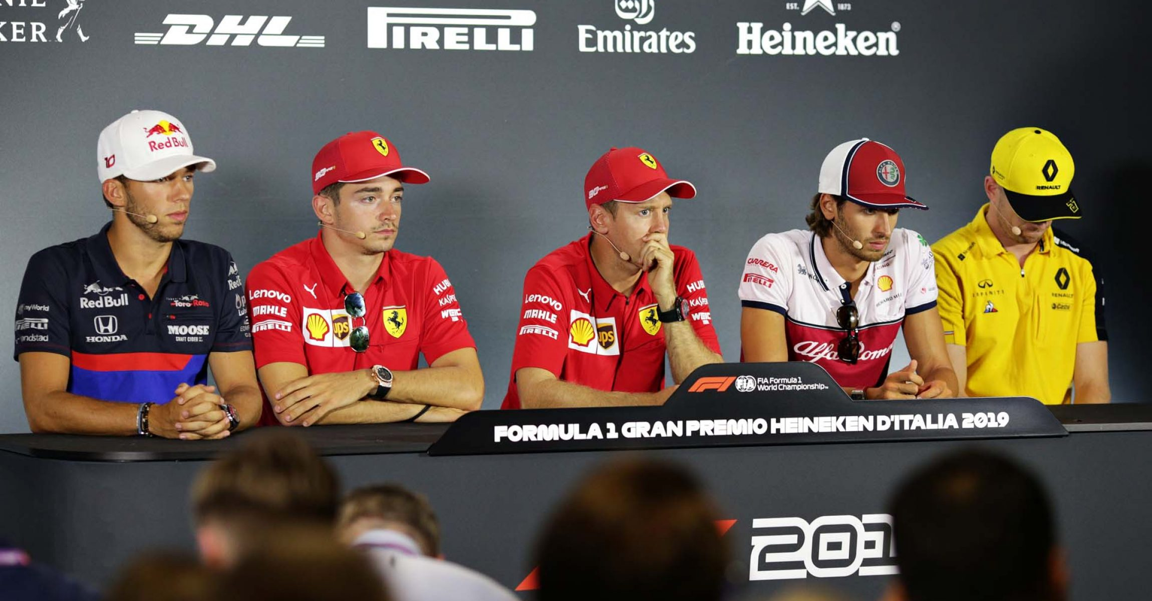 MONZA, ITALY - SEPTEMBER 05: A general view of the Drivers Press Conference with Pierre Gasly of France and Scuderia Toro Rosso, Charles Leclerc of Monaco and Ferrari, Sebastian Vettel of Germany and Ferrari, Antonio Giovinazzi of Italy and Alfa Romeo Racing and Nico Hulkenberg of Germany and Renault Sport F1 during previews ahead of the F1 Grand Prix of Italy at Autodromo di Monza on September 05, 2019 in Monza, Italy. (Photo by Peter Fox/Getty Images) // Getty Images / Red Bull Content Pool  // AP-21FUBQE4H1W11 // Usage for editorial use only //