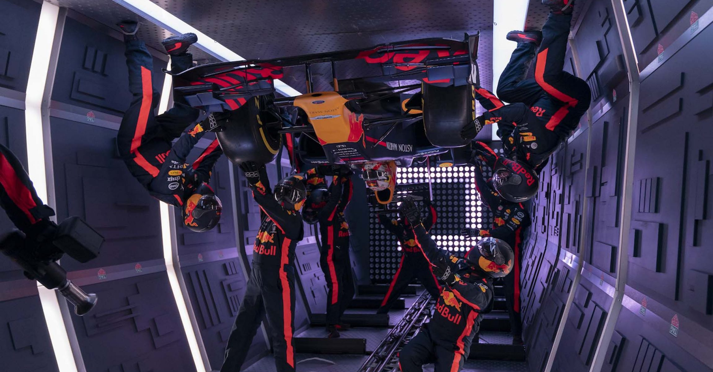 Aston Martin Red Bull Racing team perform a pit stop during the ZeroG project in Moscow, Russia on September 14, 2019
