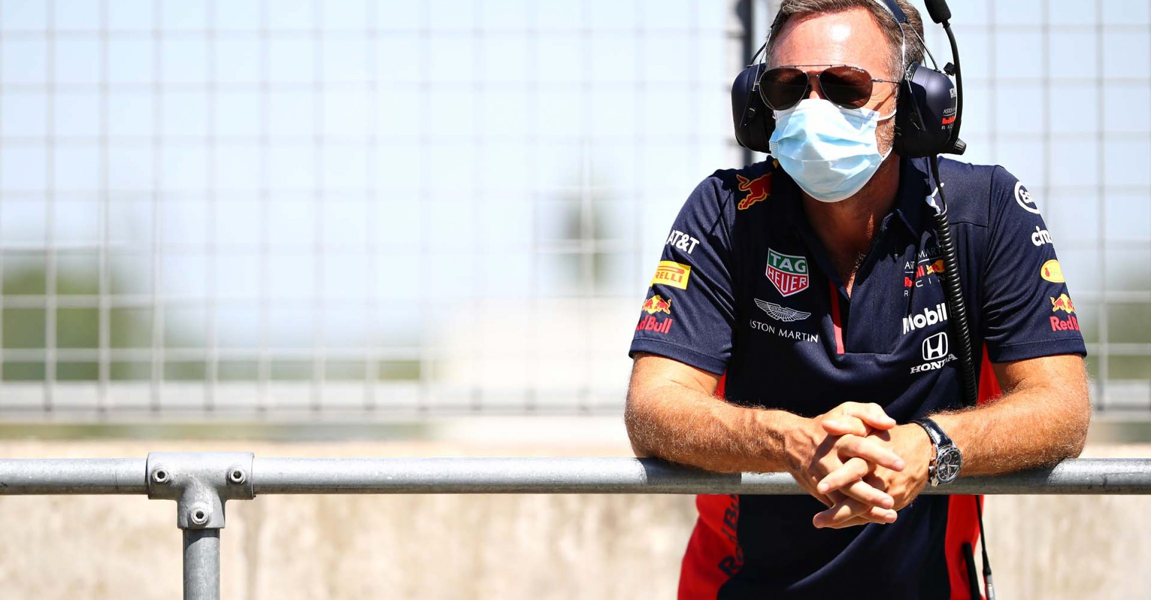 NORTHAMPTON, ENGLAND - JUNE 25: Red Bull Racing Team Principal Christian Horner looks on in the Pitlane during the Red Bull Racing RB16 Filming Day at Silverstone Circuit on June 25, 2020 in Northampton, England. (Photo by Mark Thompson/Getty Images) // Getty Images / Red Bull Content Pool // AP-24EED7EFH1W11 // Usage for editorial use only //