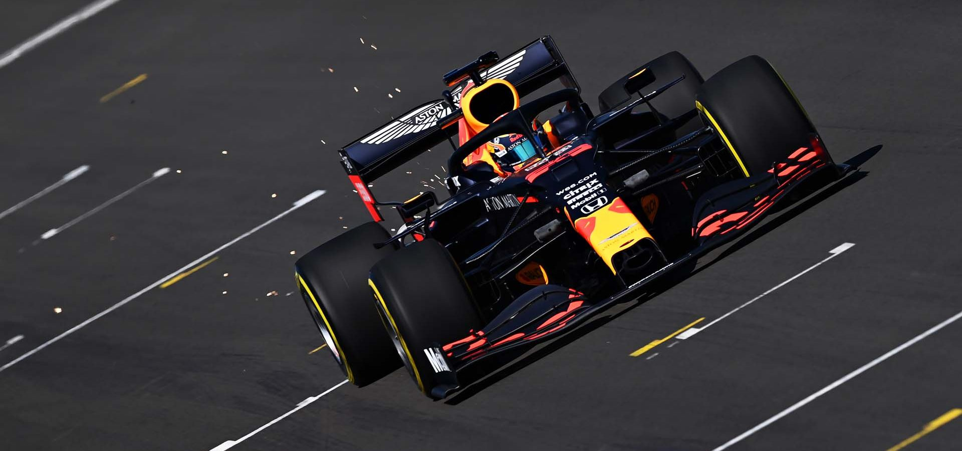 NORTHAMPTON, ENGLAND - JUNE 25: Alexander Albon of Thailand driving the (23) Aston Martin Red Bull Racing RB16 on track during the Red Bull Racing RB16 Filming Day at Silverstone Circuit on June 25, 2020 in Northampton, England. (Photo by Clive Mason/Getty Images) // Getty Images / Red Bull Content Pool  // AP-24EEHPVF12111 // Usage for editorial use only //