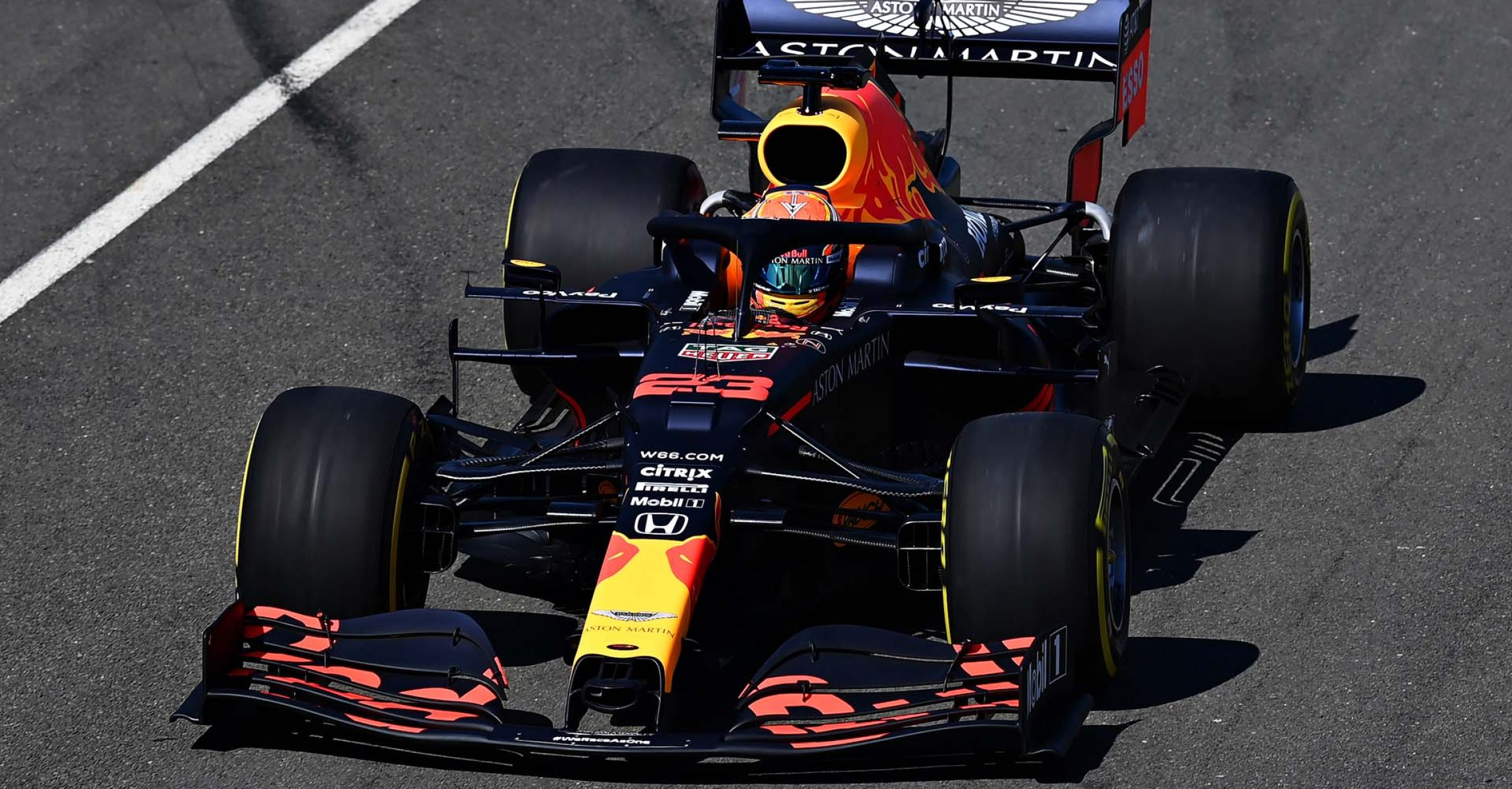 NORTHAMPTON, ENGLAND - JUNE 25: Alexander Albon of Thailand driving the (23) Aston Martin Red Bull Racing RB16 in the Pitlane during the Red Bull Racing RB16 Filming Day at Silverstone Circuit on June 25, 2020 in Northampton, England. (Photo by Clive Mason/Getty Images) // Getty Images / Red Bull Content Pool // AP-24EEHSYJN1W11 // Usage for editorial use only //