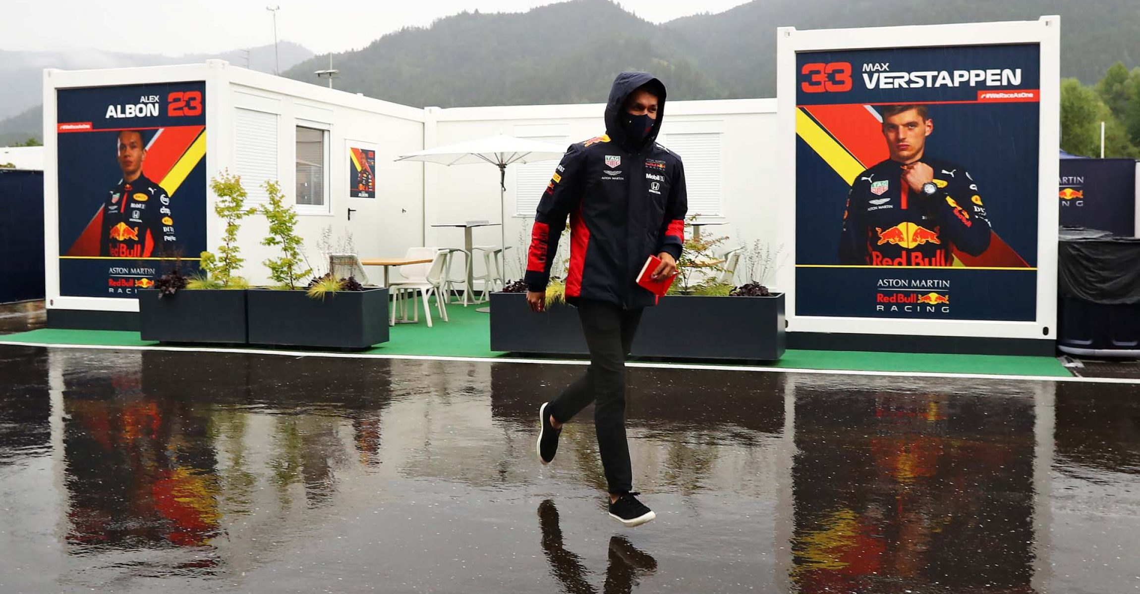 SPIELBERG, AUSTRIA - JULY 11: Alexander Albon of Thailand and Red Bull Racing runs in the Paddock before final practice for the Formula One Grand Prix of Styria at Red Bull Ring on July 11, 2020 in Spielberg, Austria. (Photo by Getty Images/Getty Images) // Getty Images / Red Bull Content Pool // AP-24KJBQHAW2111 // Usage for editorial use only //