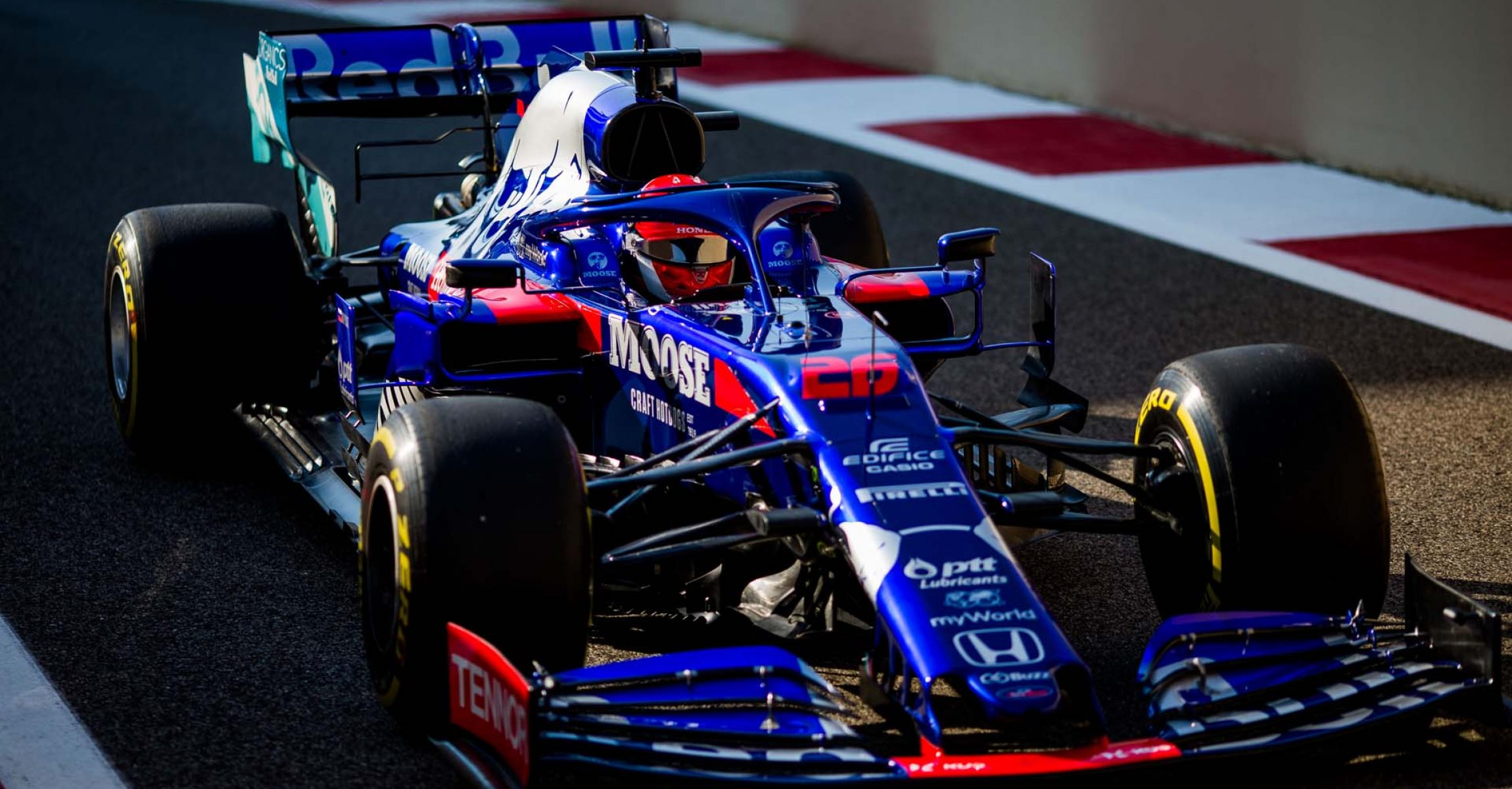 ABU DHABI, UNITED ARAB EMIRATES - NOVEMBER 29: Daniil Kvyat of Scuderia Toro Rosso and Russia during practice for the F1 Grand Prix of Abu Dhabi at Yas Marina Circuit on November 29, 2019 in Abu Dhabi, United Arab Emirates. (Photo by Peter Fox/Getty Images) // Getty Images / Red Bull Content Pool // AP-22B6GTGHS1W11 // Usage for editorial use only //