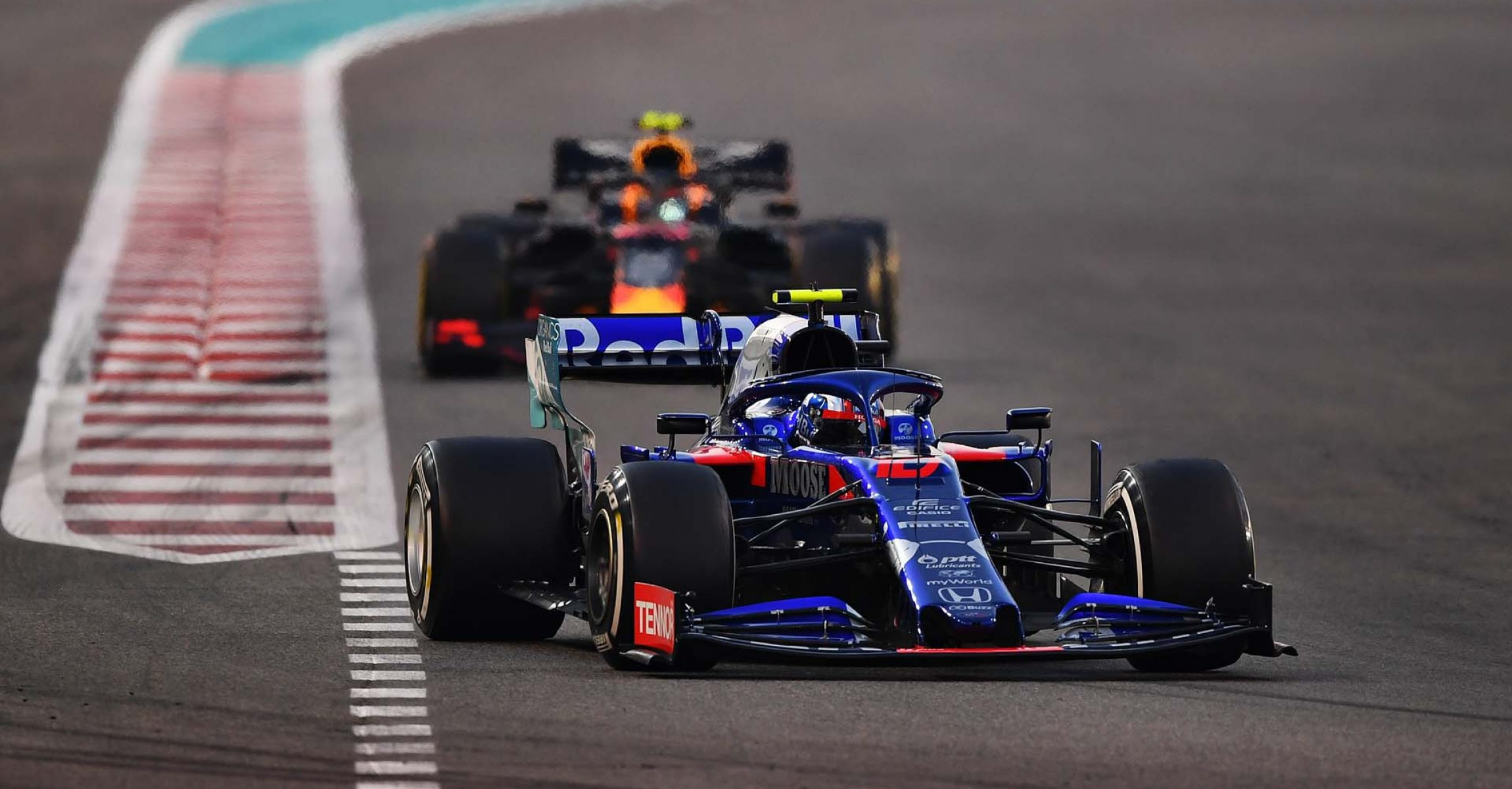 ABU DHABI, UNITED ARAB EMIRATES - DECEMBER 01: Pierre Gasly of France driving the (10) Scuderia Toro Rosso STR14 Honda on track during the F1 Grand Prix of Abu Dhabi at Yas Marina Circuit on December 01, 2019 in Abu Dhabi, United Arab Emirates. (Photo by Clive Mason/Getty Images) // Getty Images / Red Bull Content Pool // AP-22BUAC9792111 // Usage for editorial use only //