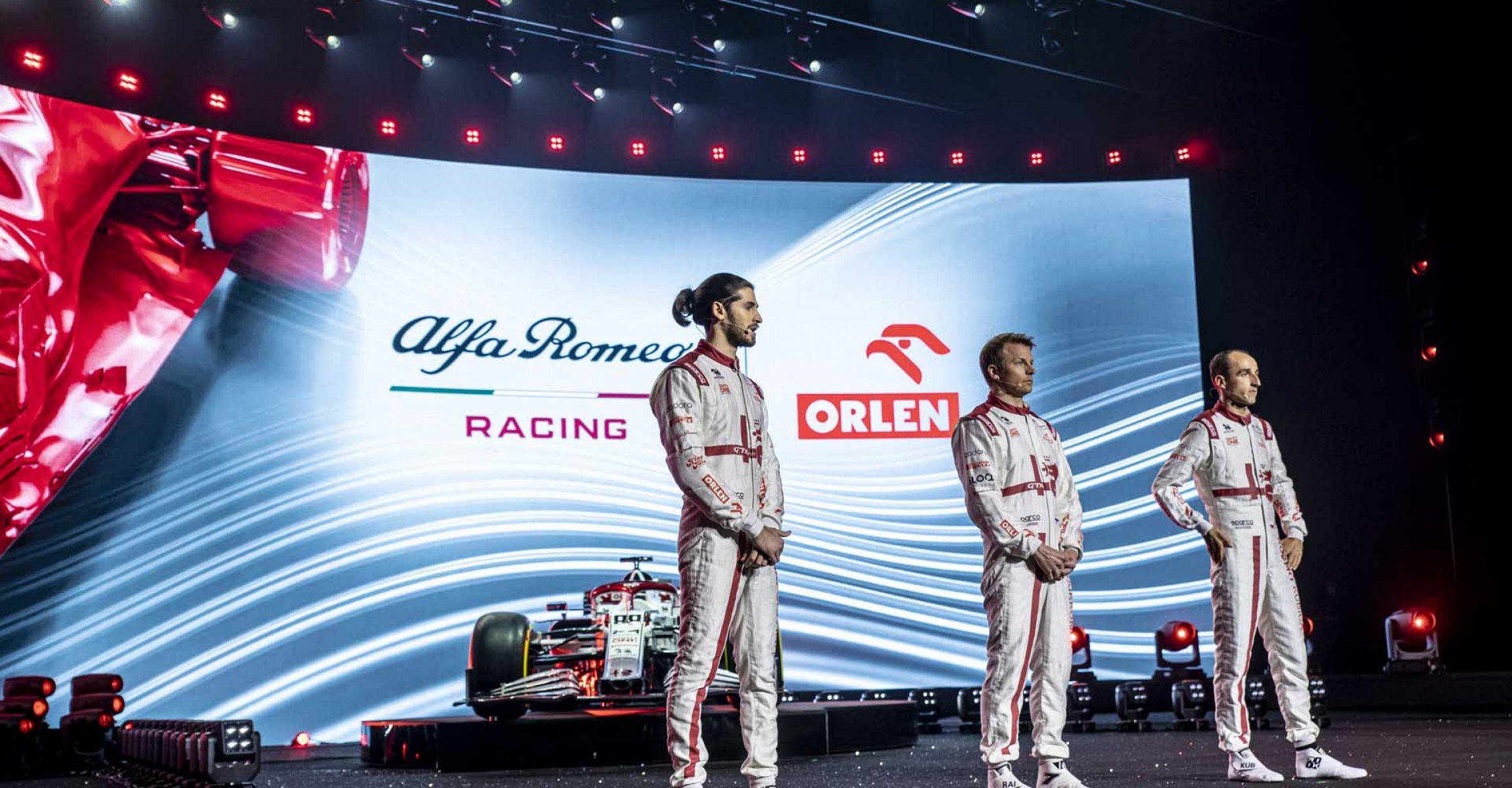 Antonio Giovinazzi, Kimi Räikkönen, Robert Kubica, Alfa Romeo C41 launch, 2021