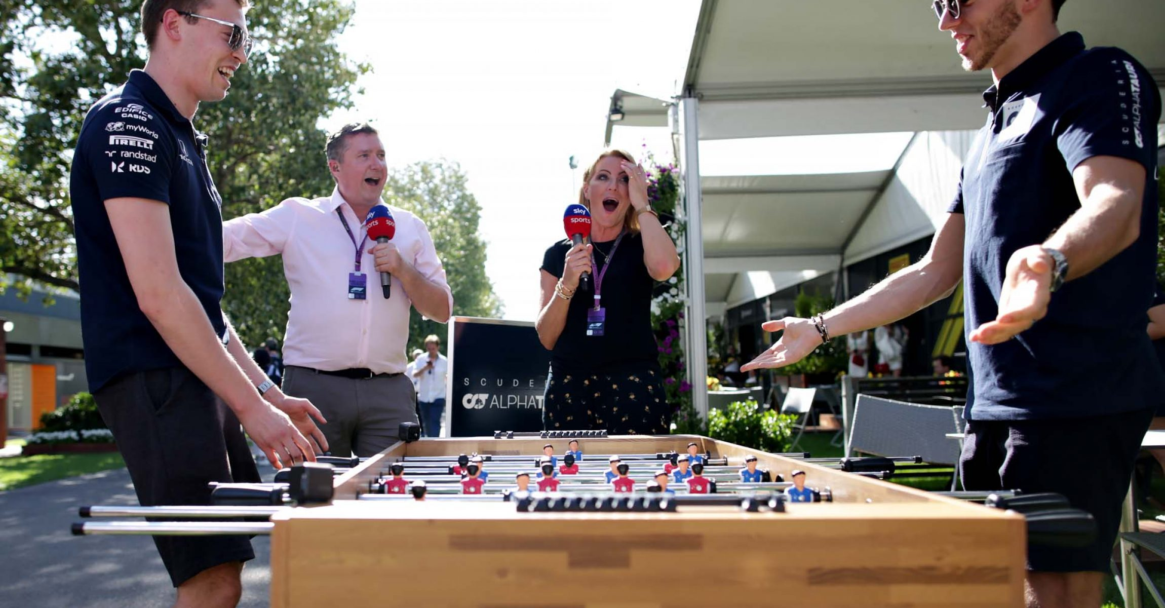 MELBOURNE, AUSTRALIA - MARCH 12: Pierre Gasly of France and Scuderia AlphaTauri and Daniil Kvyat of Russia and Scuderia AlphaTauri play table football in the Paddock during previews ahead of the F1 Grand Prix of Australia at Melbourne Grand Prix Circuit on March 12, 2020 in Melbourne, Australia. (Photo by Peter Fox/Getty Images) // Getty Images / Red Bull Content Pool // AP-23CJJSMZD1W11 // Usage for editorial use only //