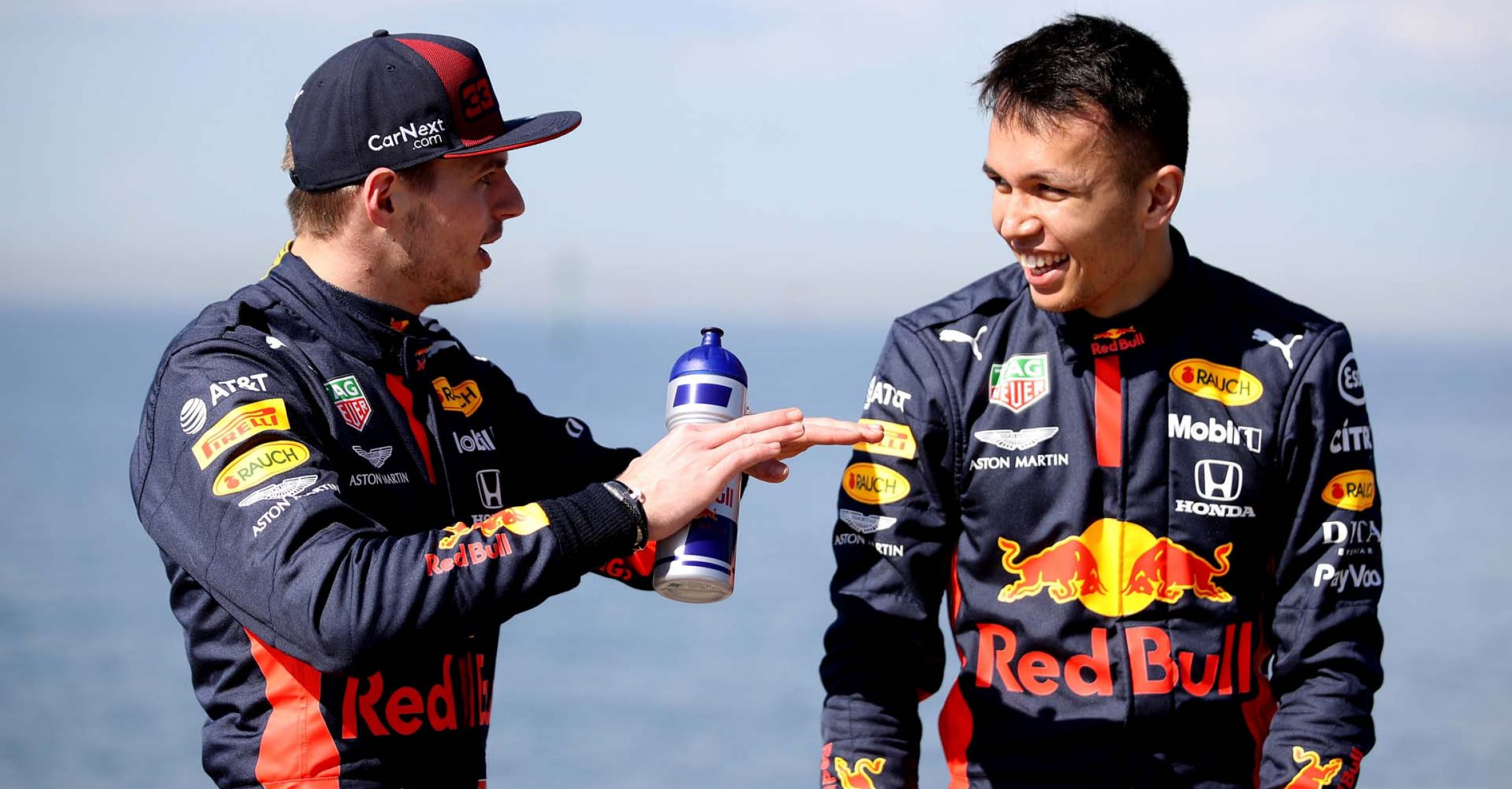 MELBOURNE, AUSTRALIA - MARCH 11: Max Verstappen of Netherlands and Red Bull Racing and Alexander Albon of Thailand and Red Bull Racing speak during the Aston Martin Red Bull Racing Cooler Runnings event at Station Pier, Port Melbourne ahead of the F1 Grand Prix of Australia on March 11, 2020 in Melbourne, Australia. (Photo by Mark Thompson/Getty Images) // Getty Images / Red Bull Content Pool // AP-23C65P9S12111 // Usage for editorial use only //