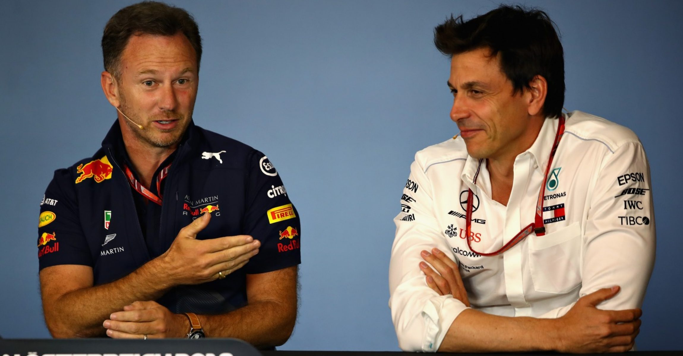 SPIELBERG, AUSTRIA - JUNE 29: Red Bull Racing Team Principal Christian Horner and Mercedes GP Executive Director Toto Wolff in the Team Principals Press Conference during practice for the Formula One Grand Prix of Austria at Red Bull Ring on June 29, 2018 in Spielberg, Austria. (Photo by Mark Thompson/Getty Images)