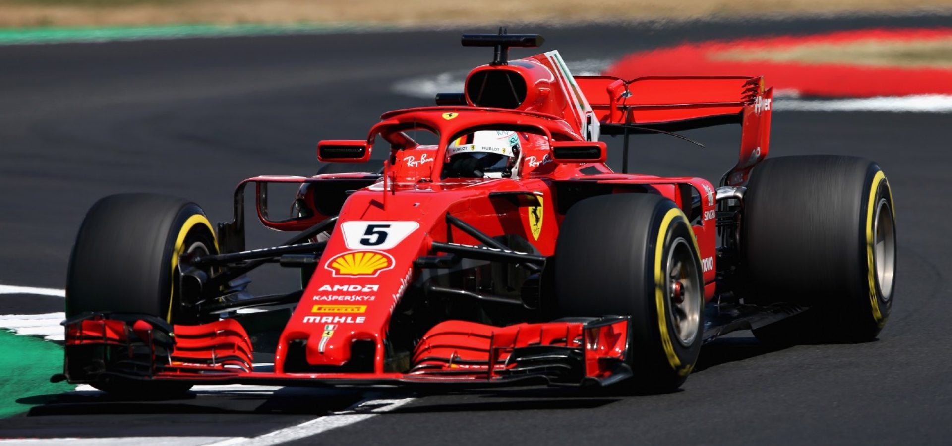 NORTHAMPTON, ENGLAND - JULY 07: Sebastian Vettel of Germany driving the (5) Scuderia Ferrari SF71H on track during qualifying for the Formula One Grand Prix of Great Britain at Silverstone on July 7, 2018 in Northampton, England.  (Photo by Charles Coates/Getty Images) *** Local Caption *** Sebastian Vettel