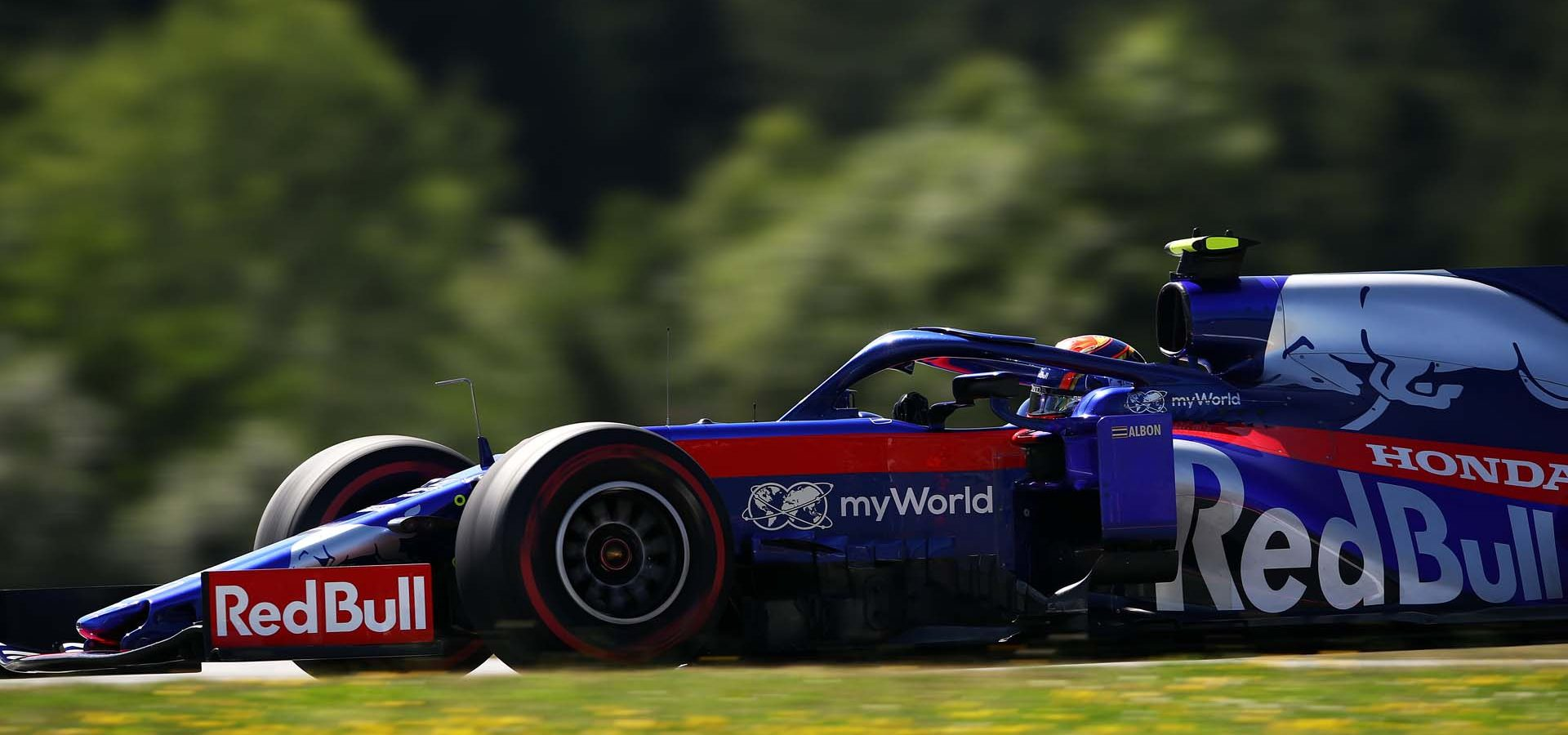 SPIELBERG, AUSTRIA - JUNE 28: Alexander Albon of Thailand driving the (23) Scuderia Toro Rosso STR14 Honda on track during practice for the F1 Grand Prix of Austria at Red Bull Ring on June 28, 2019 in Spielberg, Austria. (Photo by Bryn Lennon/Getty Images) // Getty Images / Red Bull Content Pool  // AP-1ZSNDTQ992111 // Usage for editorial use only // Please go to www.redbullcontentpool.com for further information. //