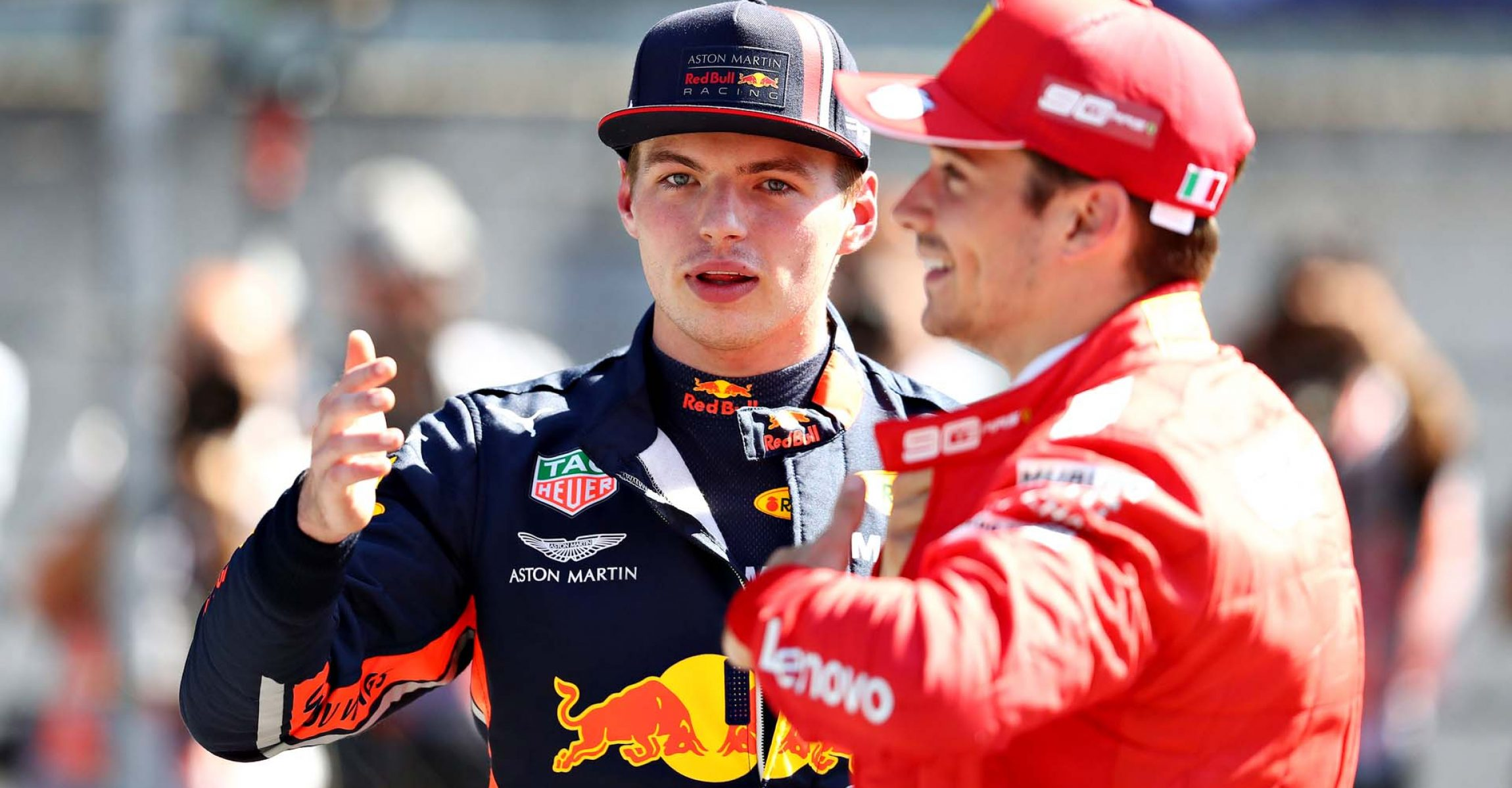 SPIELBERG, AUSTRIA - JUNE 29: Pole position qualifier Charles Leclerc of Monaco and Ferrari and third place qualifier Max Verstappen of Netherlands and Red Bull Racing talk in parc ferme during qualifying for the F1 Grand Prix of Austria at Red Bull Ring on June 29, 2019 in Spielberg, Austria. (Photo by Mark Thompson/Getty Images) // Getty Images / Red Bull Content Pool // AP-1ZSYC1BQN1W11 // Usage for editorial use only // Please go to www.redbullcontentpool.com for further information. //