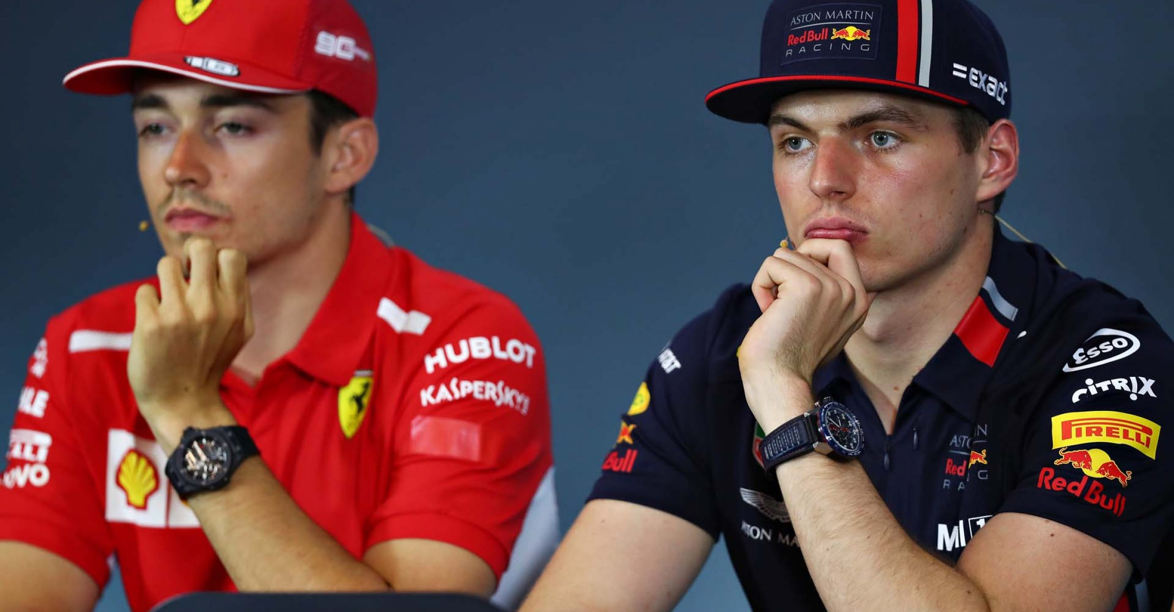 SPIELBERG, AUSTRIA - JUNE 27: Max Verstappen of Netherlands and Red Bull Racing and Charles Leclerc of Monaco and Ferrari look on in the Drivers Press Conference during previews ahead of the F1 Grand Prix of Austria at Red Bull Ring on June 27, 2019 in Spielberg, Austria. (Photo by Lars Baron/Getty Images) // Getty Images / Red Bull Content Pool // AP-1ZSA5KQAH1W11 // Usage for editorial use only // Please go to www.redbullcontentpool.com for further information. //