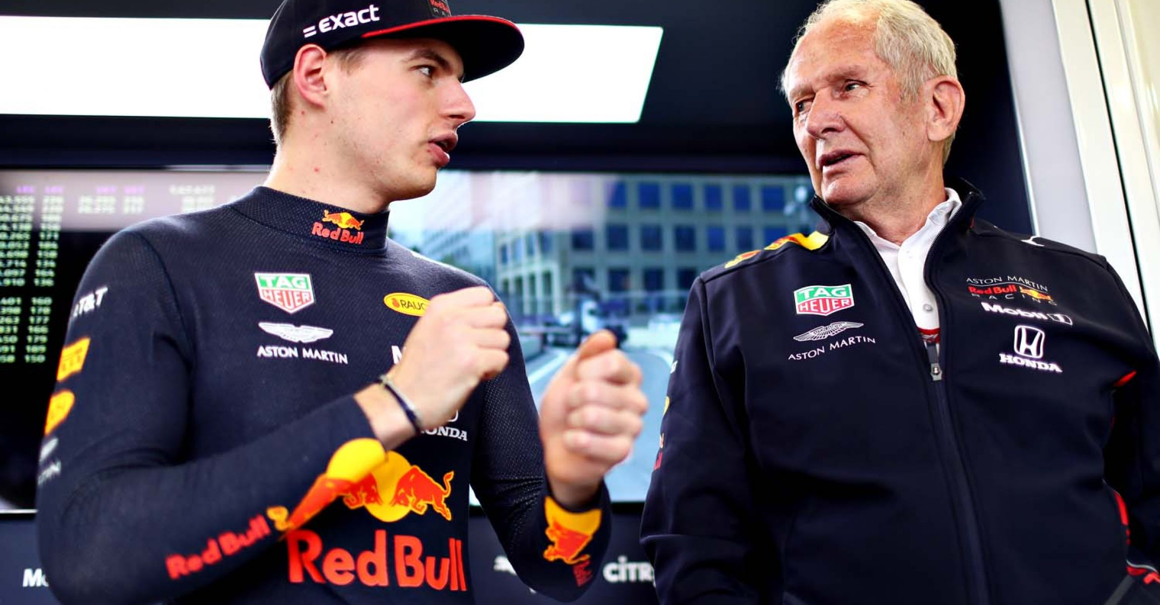 BAKU, AZERBAIJAN - APRIL 26: Max Verstappen of Netherlands and Red Bull Racing talks with Red Bull Racing Team Consultant Dr Helmut Marko in the garage during practice for the F1 Grand Prix of Azerbaijan at Baku City Circuit on April 26, 2019 in Baku, Azerbaijan. (Photo by Dan Istitene/Getty Images) // Getty Images / Red Bull Content Pool // AP-1Z5ARFWP91W11 // Usage for editorial use only // Please go to www.redbullcontentpool.com for further information. //