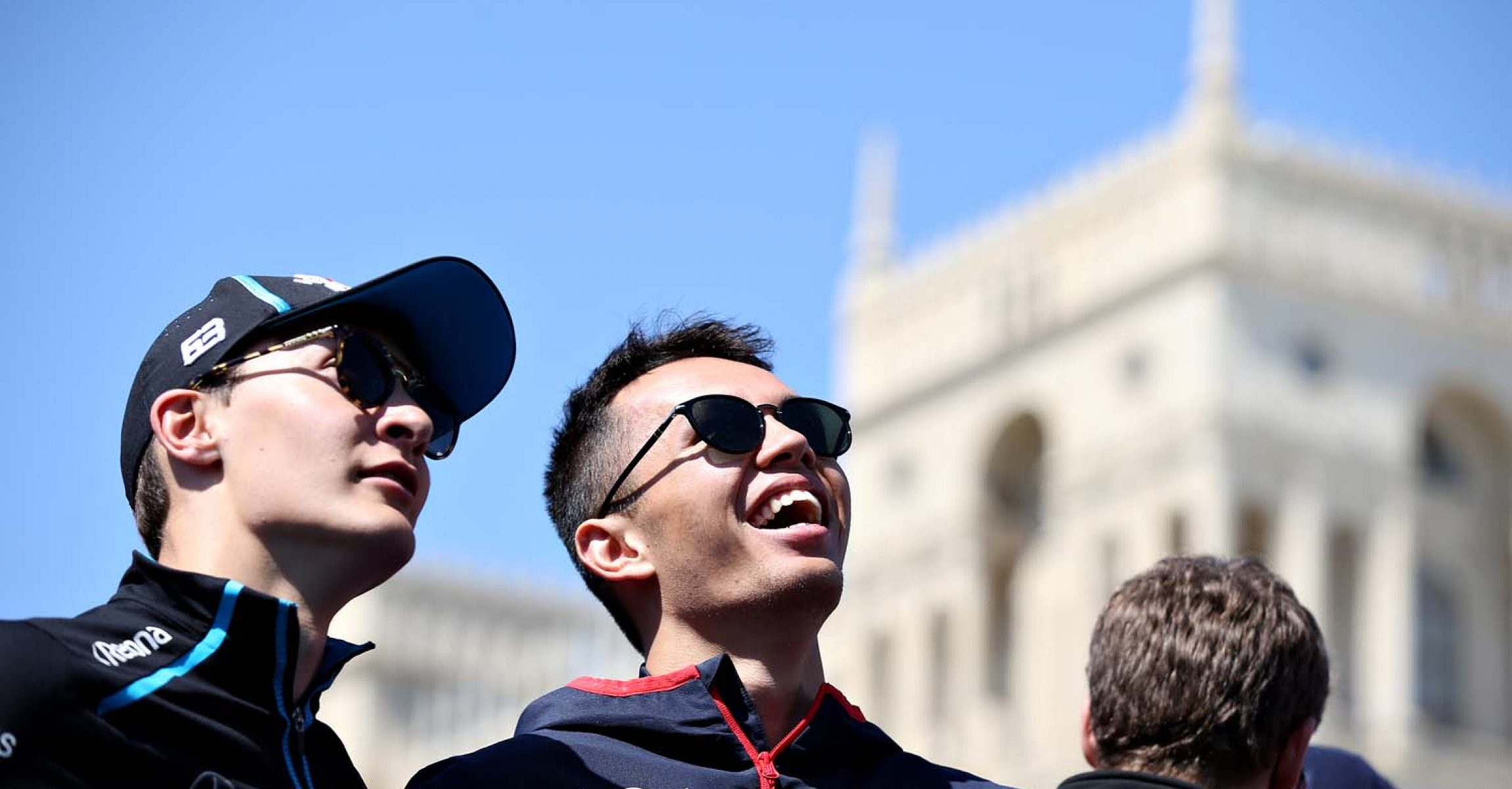 BAKU, AZERBAIJAN - APRIL 28: Alexander Albon of Thailand and Scuderia Toro Rosso and George Russell of Great Britain and Williams look on from the drivers parade before the F1 Grand Prix of Azerbaijan at Baku City Circuit on April 28, 2019 in Baku, Azerbaijan. (Photo by Charles Coates/Getty Images) // Getty Images / Red Bull Content Pool // AP-1Z5YC3JZD1W11 // Usage for editorial use only // Please go to www.redbullcontentpool.com for further information. //