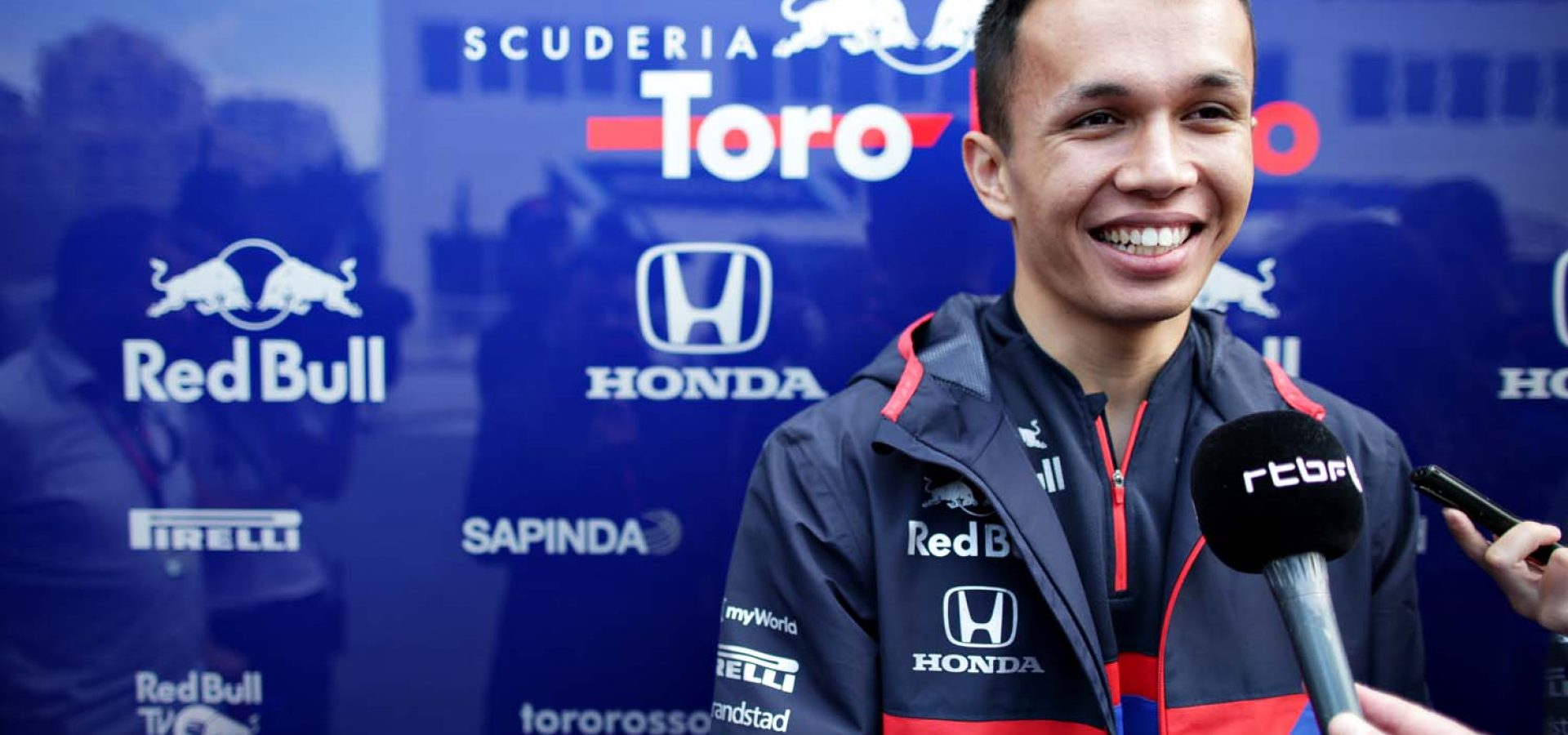 BAKU, AZERBAIJAN - APRIL 25: Alexander Albon of Thailand and Scuderia Toro Rosso talks to the media in the Paddock during previews ahead of the F1 Grand Prix of Azerbaijan at Baku City Circuit on April 25, 2019 in Baku, Azerbaijan. (Photo by Peter Fox/Getty Images) // Getty Images / Red Bull Content Pool  // AP-1Z4ZECWUW2511 // Usage for editorial use only // Please go to www.redbullcontentpool.com for further information. //