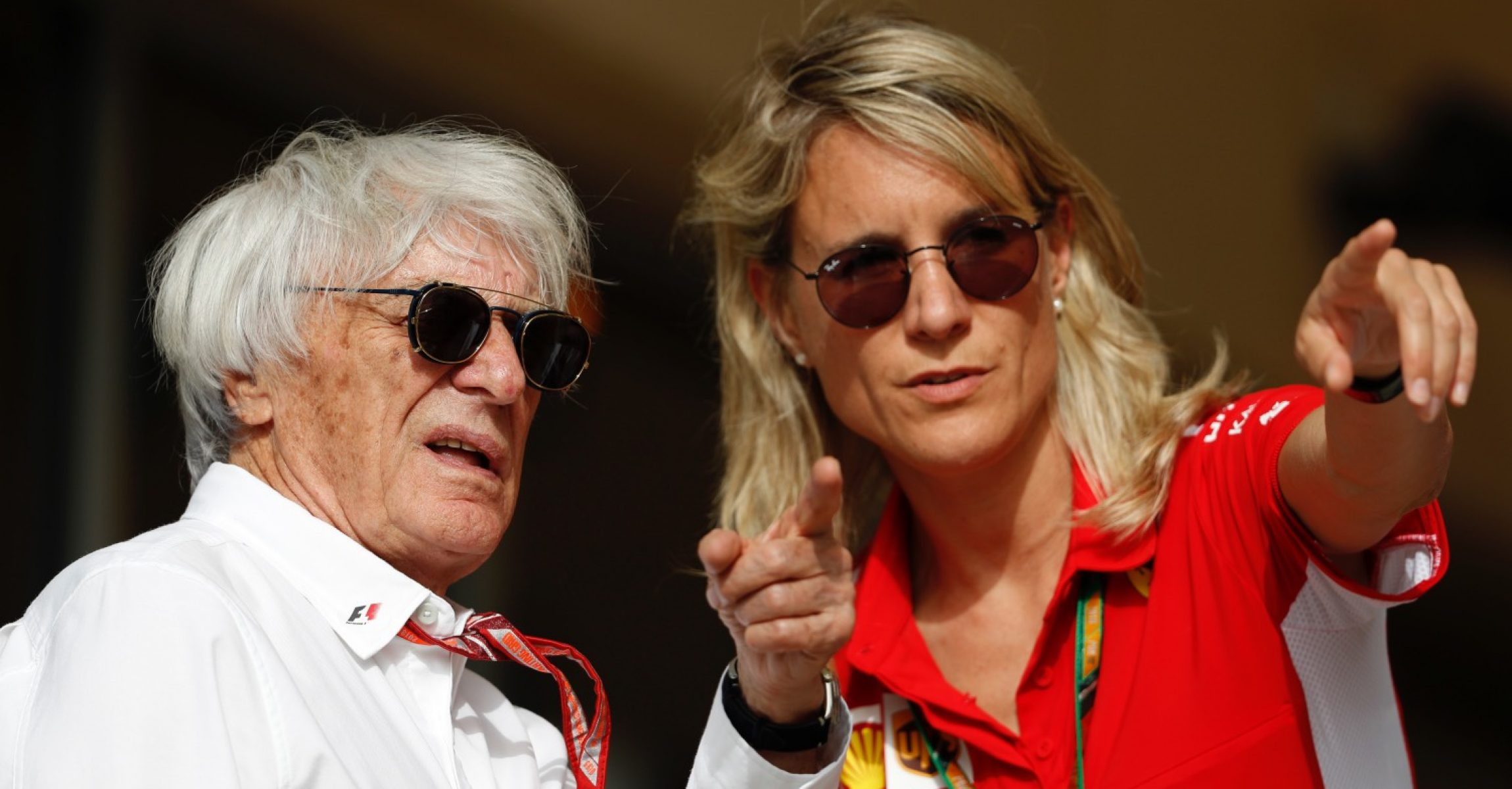 Bernie Ecclestone (GBR) and Britta Roeske (AUT) at Formula One World Championship, Rd2, Bahrain Grand Prix, Race, Bahrain International Circuit, Sakhir, Bahrain, Sunday 8 April 2018.