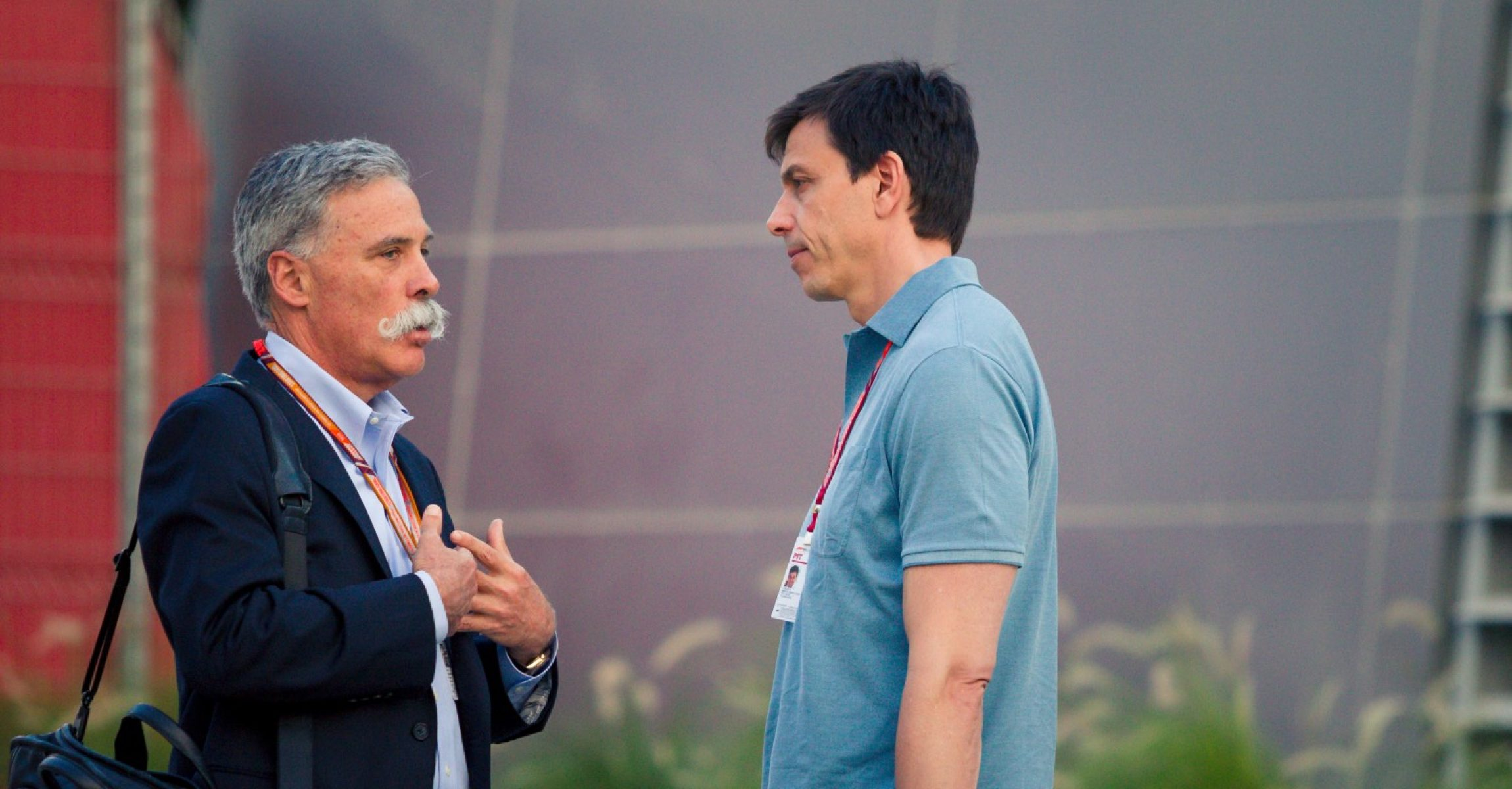 Chase Carey (USA) Chief Executive Officer and Executive Chairman of the Formula One Group and Toto Wolff (AUT) Mercedes AMG F1 Director of Motorsport at Formula One World Championship, Rd2, Bahrain Grand Prix, Preparations, Bahrain International Circuit, Sakhir, Bahrain, Thursday 5 April 2018.