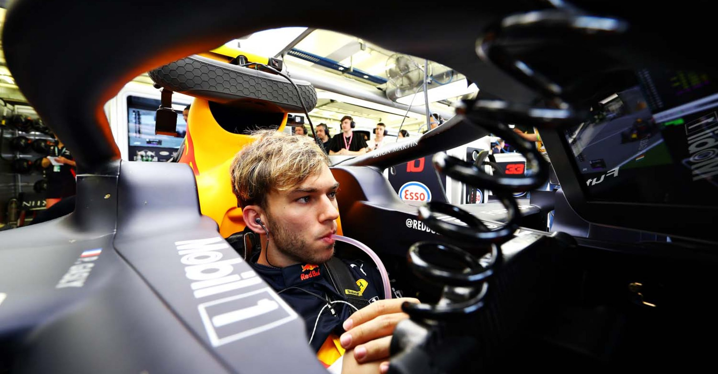 BAHRAIN, BAHRAIN - MARCH 29: Pierre Gasly of France and Red Bull Racing prepares to drive in the garage during practice for the F1 Grand Prix of Bahrain at Bahrain International Circuit on March 29, 2019 in Bahrain, Bahrain. (Photo by Mark Thompson/Getty Images) // Getty Images / Red Bull Content Pool // AP-1YVADRTKH2111 // Usage for editorial use only // Please go to www.redbullcontentpool.com for further information. //