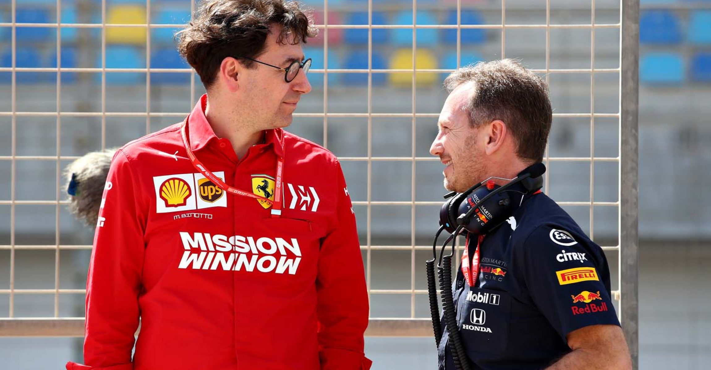 BAHRAIN, BAHRAIN - MARCH 29: Red Bull Racing Team Principal Christian Horner talks with Ferrari Team Principal Mattia Binotto during practice for the F1 Grand Prix of Bahrain at Bahrain International Circuit on March 29, 2019 in Bahrain, Bahrain. (Photo by Mark Thompson/Getty Images) // Getty Images / Red Bull Content Pool // AP-1YVAQTM352111 // Usage for editorial use only // Please go to www.redbullcontentpool.com for further information. //